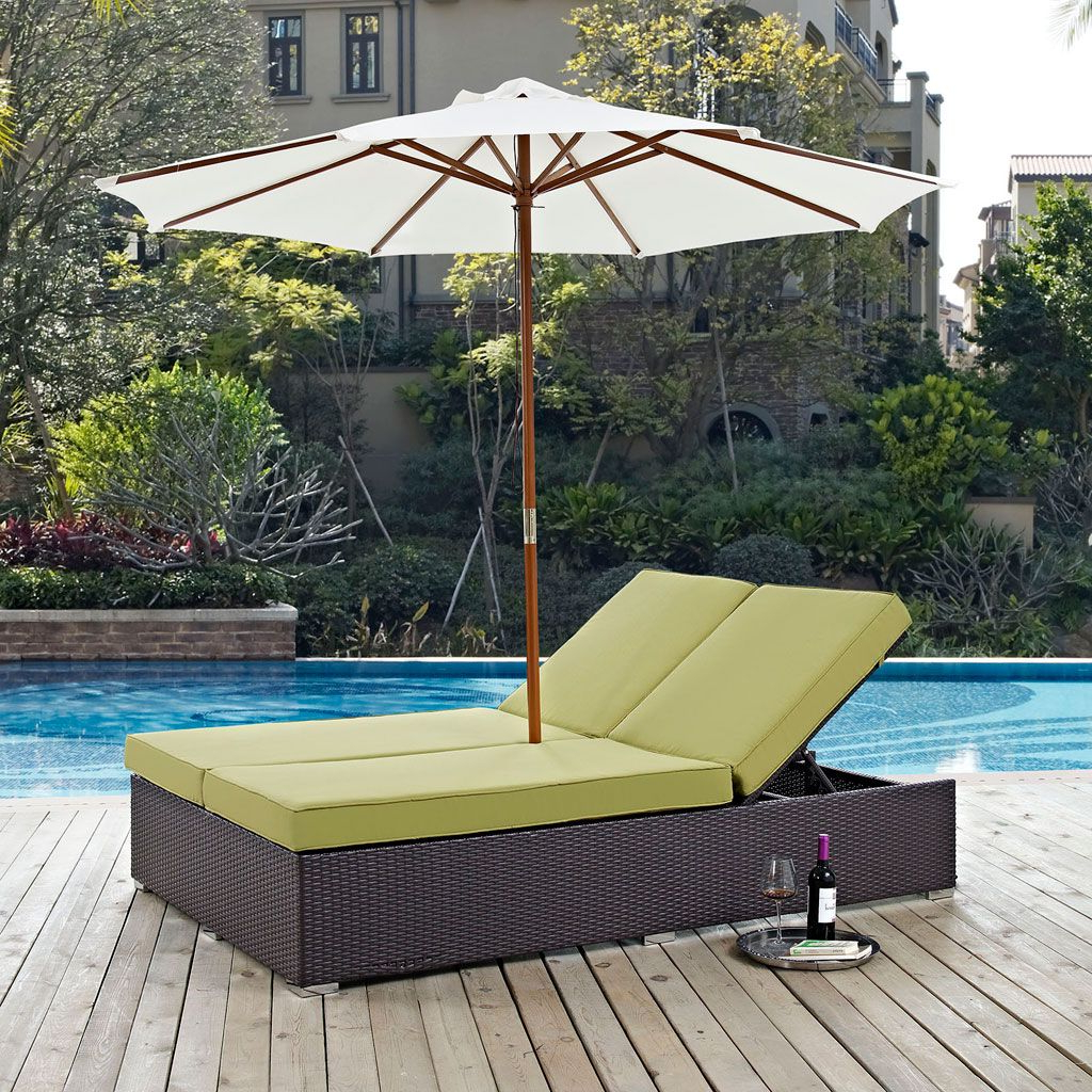 Trendy Convene Outdoor Double Chaise Lounge With Umbrella (multiple Intended For Envisage Chaise Outdoor Patio Wicker Rattan Lounge Chairs (View 23 of 25)