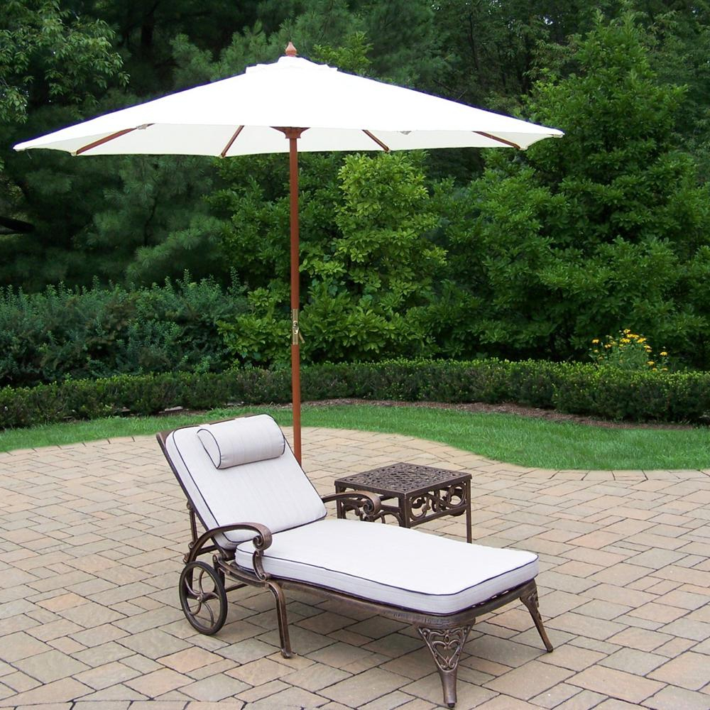Trendy Lattice Outdoor Patio Pool Chaise Lounges With Wheels And Cushion Intended For 5 Piece Cast Aluminum Patio Lounge Set Of 2 Chaise Lounges With Wheels, Side Table, Wooden Umbrella And Metal Stand (View 15 of 25)