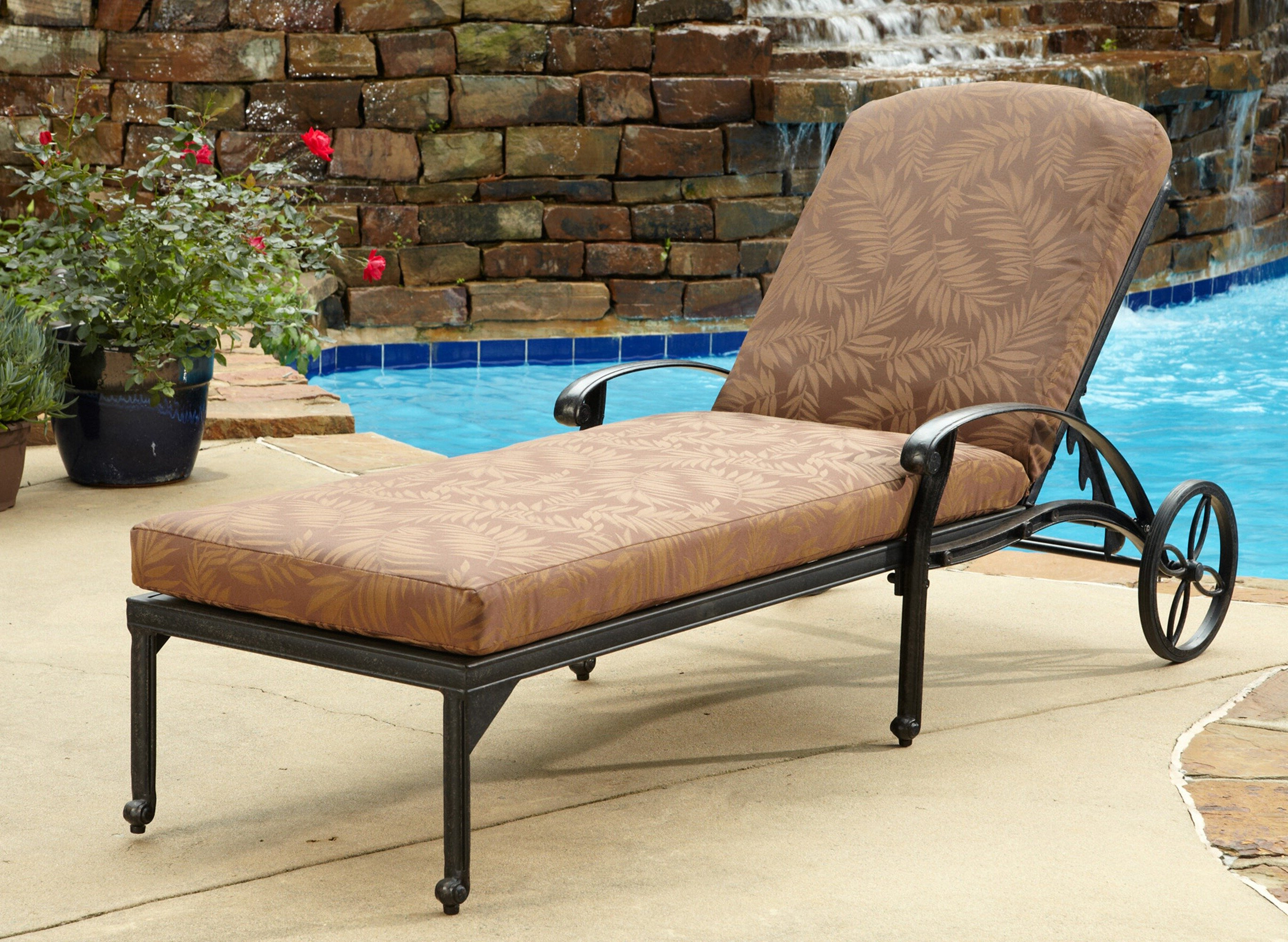 Trendy Lattice Outdoor Patio Pool Chaise Lounges With Wheels And Cushion Pertaining To One Allium Way Arrey Reclining Chaise Lounge With Cushion (View 12 of 25)