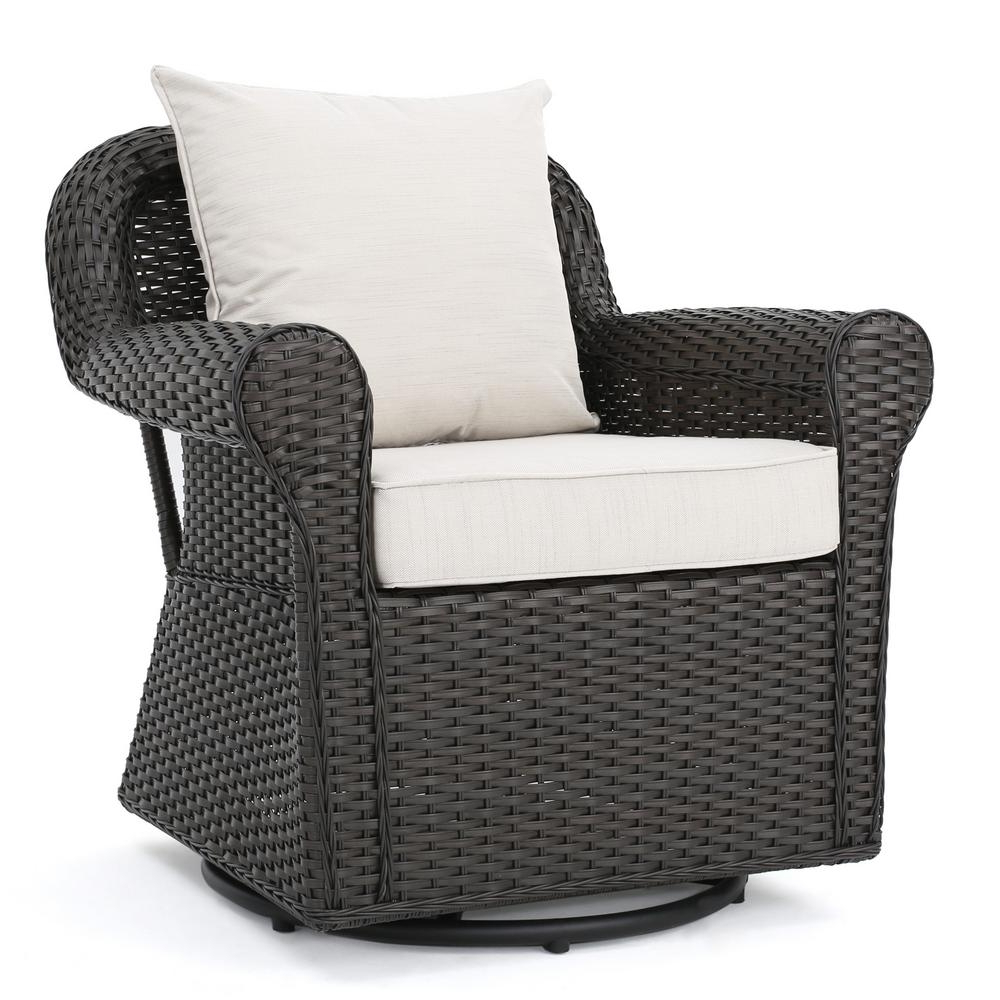 Trendy Modern Home Wailea Woven Rattan Loungers With Regard To Noble House Amaya Dark Brown Swivel Wicker Outdoor Lounge Chair With Beige Cushions (View 9 of 25)
