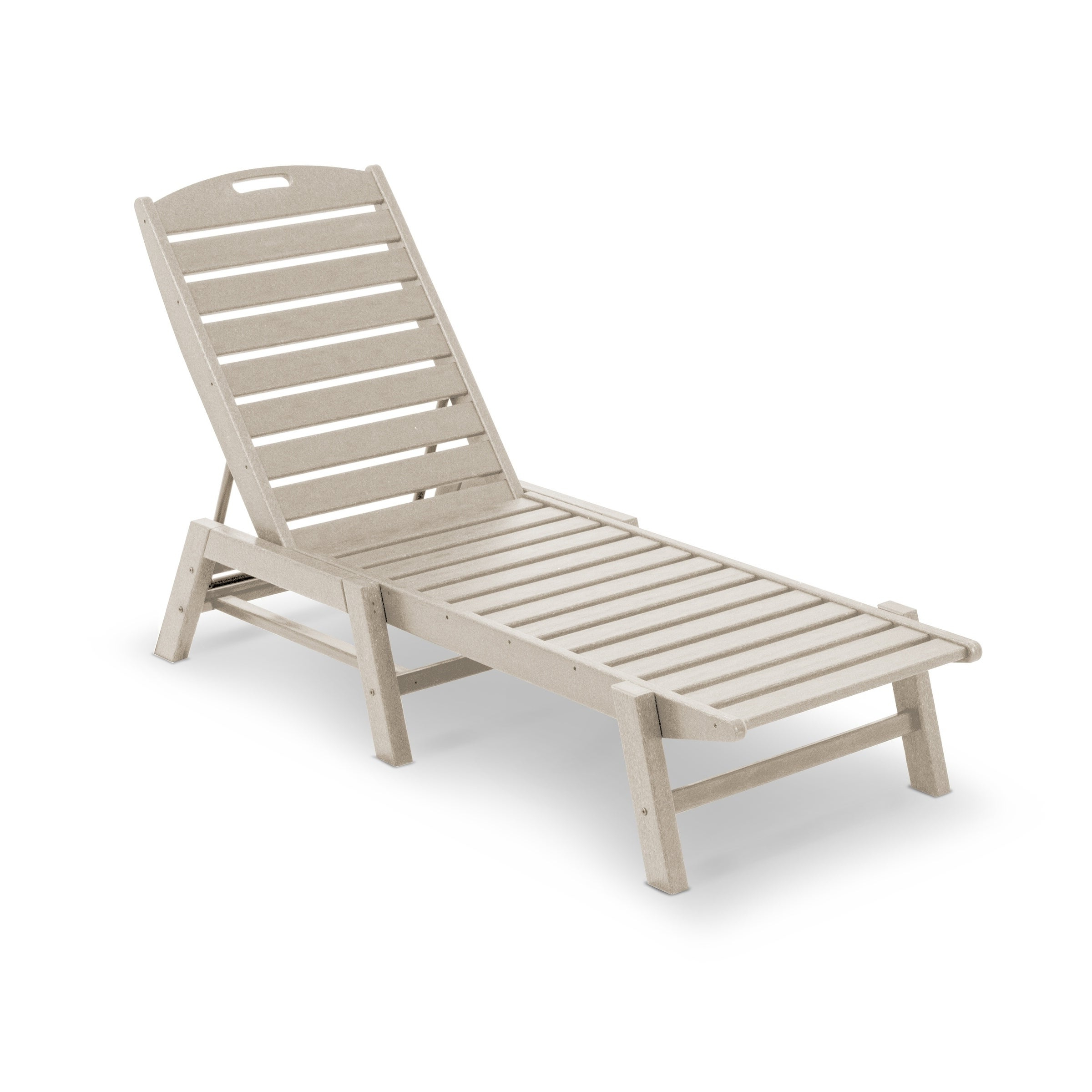 Trendy Nautical 3 Piece Outdoor Chaise Lounge Sets With Wheels And Table Within Polywood® Nautical Outdoor Chaise Lounge, Stackable (View 13 of 25)