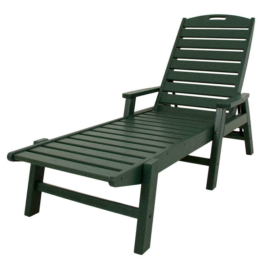 Trendy Nautical Outdoor Chaise Lounges With Arms With Polywood Ncc2280gr Green Nautical Folding Adjustable Chaise With Arms (View 15 of 25)