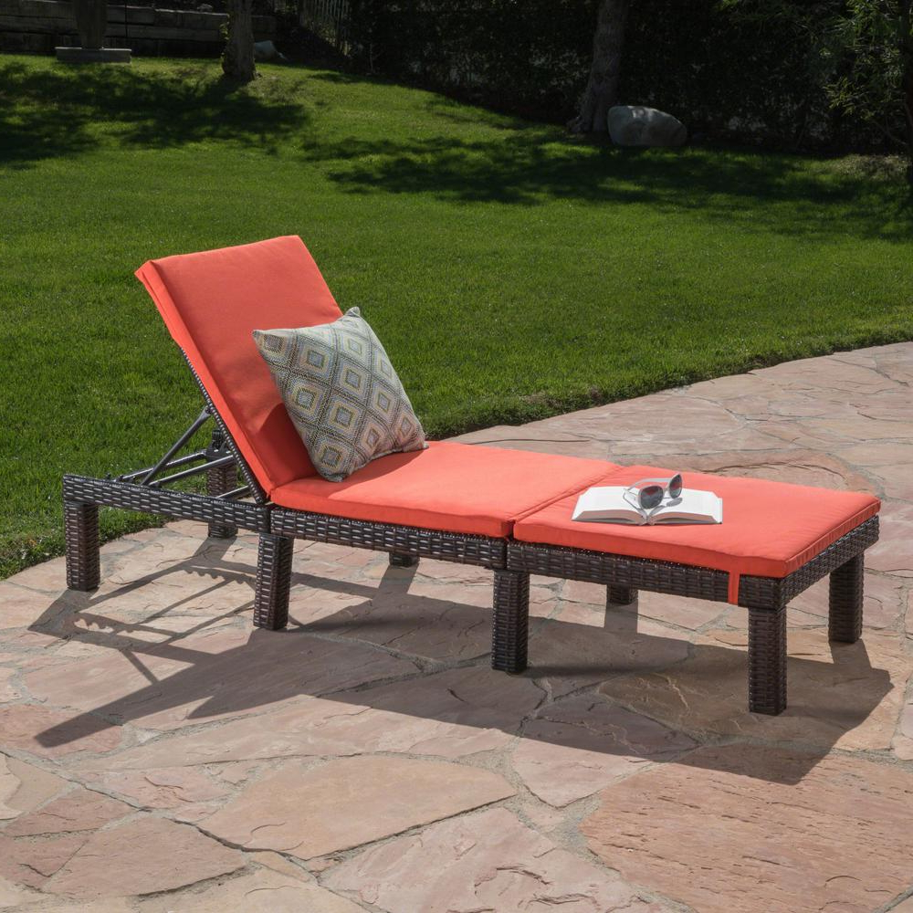 Trendy Noble House Caesar Multi Brown Wicker Outdoor Chaise Lounge With Orange Cushion Intended For Jamaica Outdoor Wicker Chaise Lounges With Cushion (View 17 of 25)
