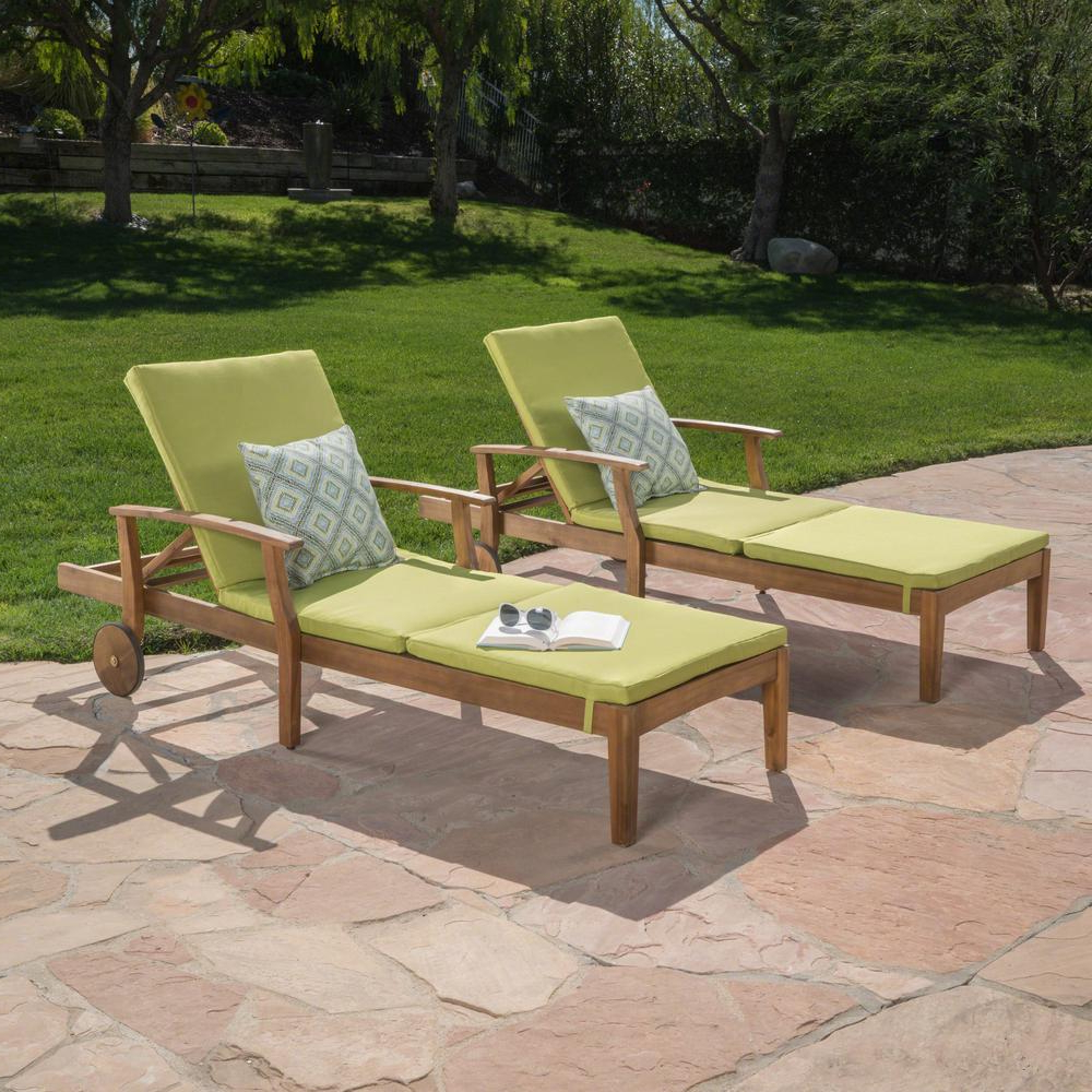 Trendy Noble House Giancarlo Teak 2 Piece Wood Outdoor Chaise Lounge With Green Cushion Throughout Outdoor 3 Piece Acacia Wood Chaise Lounge Sets (View 5 of 25)