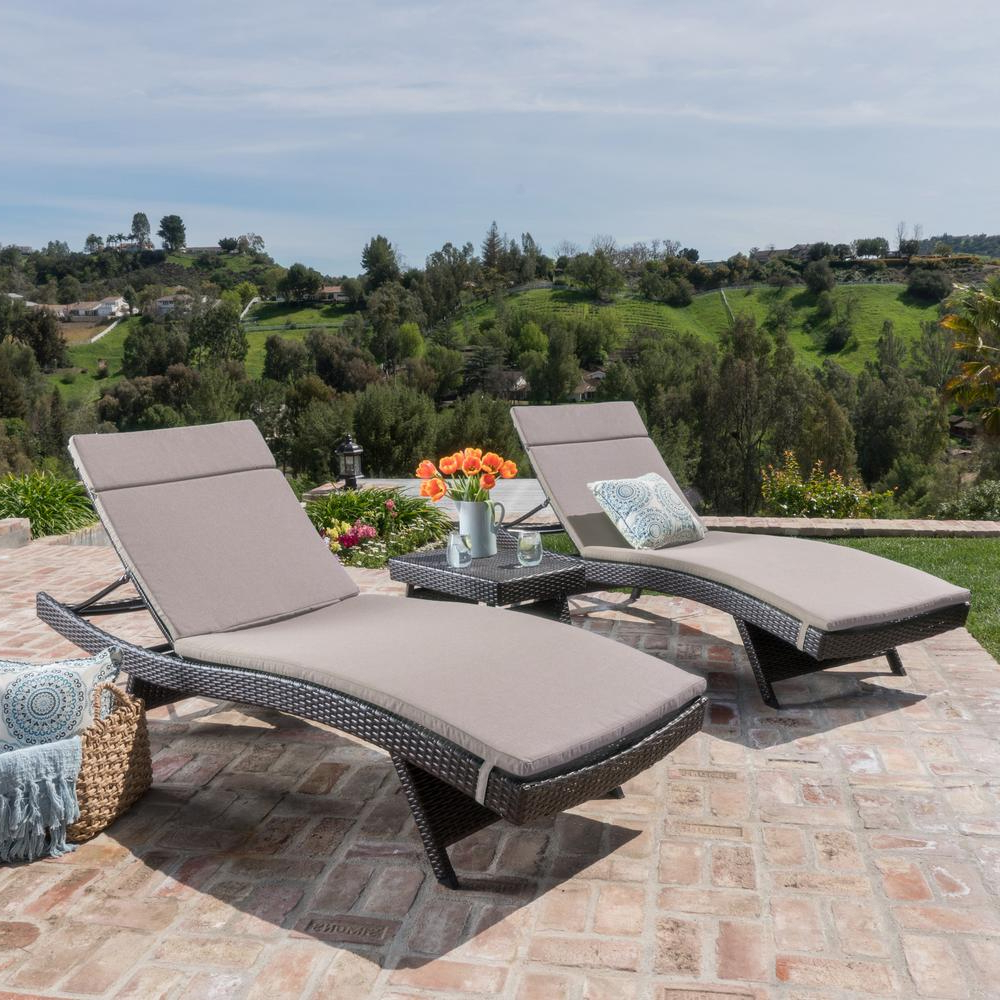 Trendy Noble House Miller Multi Brown 3 Piece Wicker Outdoor Chaise Lounge And Table Set With Charcoal Cushions Inside Outdoor 3 Piece Chaise Lounger Sets With Table (View 8 of 25)