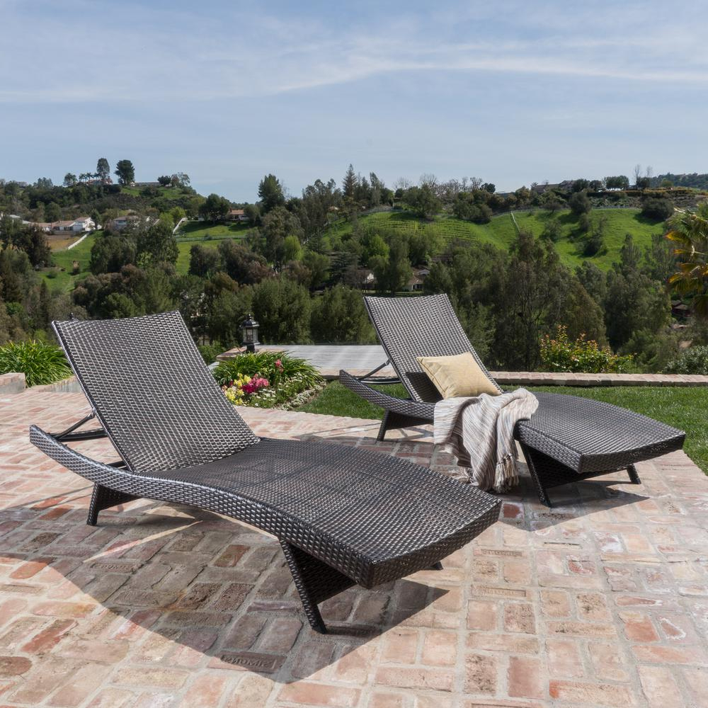 Trendy Noble House Toscana Multi Brown 2 Piece Wicker Outdoor Chaise Lounge In Multi Position Iron Chaise Lounges (View 24 of 25)