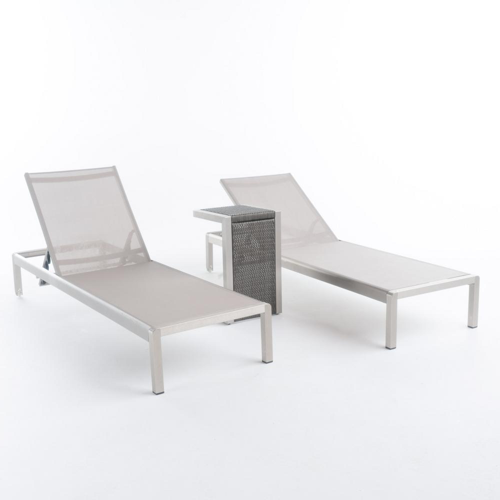 Trendy Noble House Valentina Silver Adjustable 3 Piece Metal Outdoor Chaise Lounge  Set Intended For Amazonia Pacific 3 Piece Wheel Lounger Sets With White Cushions (View 23 of 25)