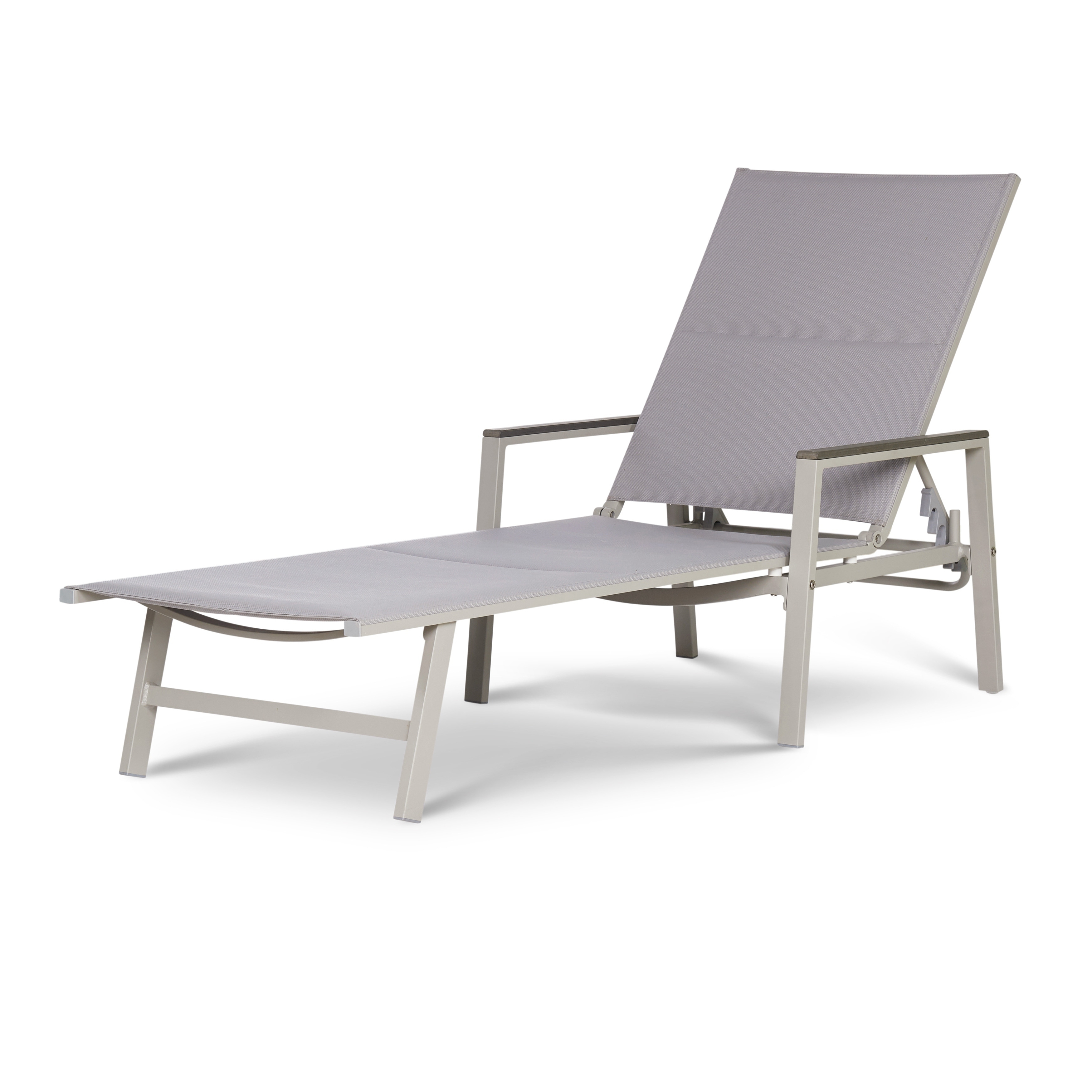 Trendy Outdoor Living Manteca Ash Grey Acacia Wood Lounge Chairs Regarding Positano Grey Sling Patio Chaise Lounge, Gray, Russ (View 22 of 25)
