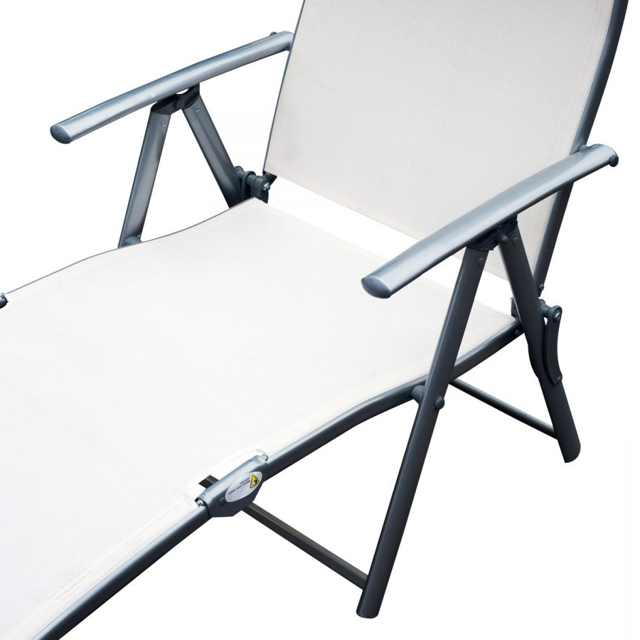 Trendy Outsunny Steel Sling Fabric Outdoor Folding Chaise Lounge Chair Recliner –  Cream White Inside Steel Sling Fabric Outdoor Folding Chaise Lounges (View 24 of 25)