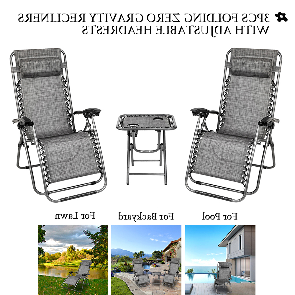 Trendy Reclining Patio Chairs, 3pcs Foldable Camp Lounge Chair Zero Gravity With Adjustable Headrests, Strong Beach Chairs And Table With 2 Cup Holders, Hold With Regard To Sunset Patio Sling Folding Chairs With Headrest (View 15 of 25)