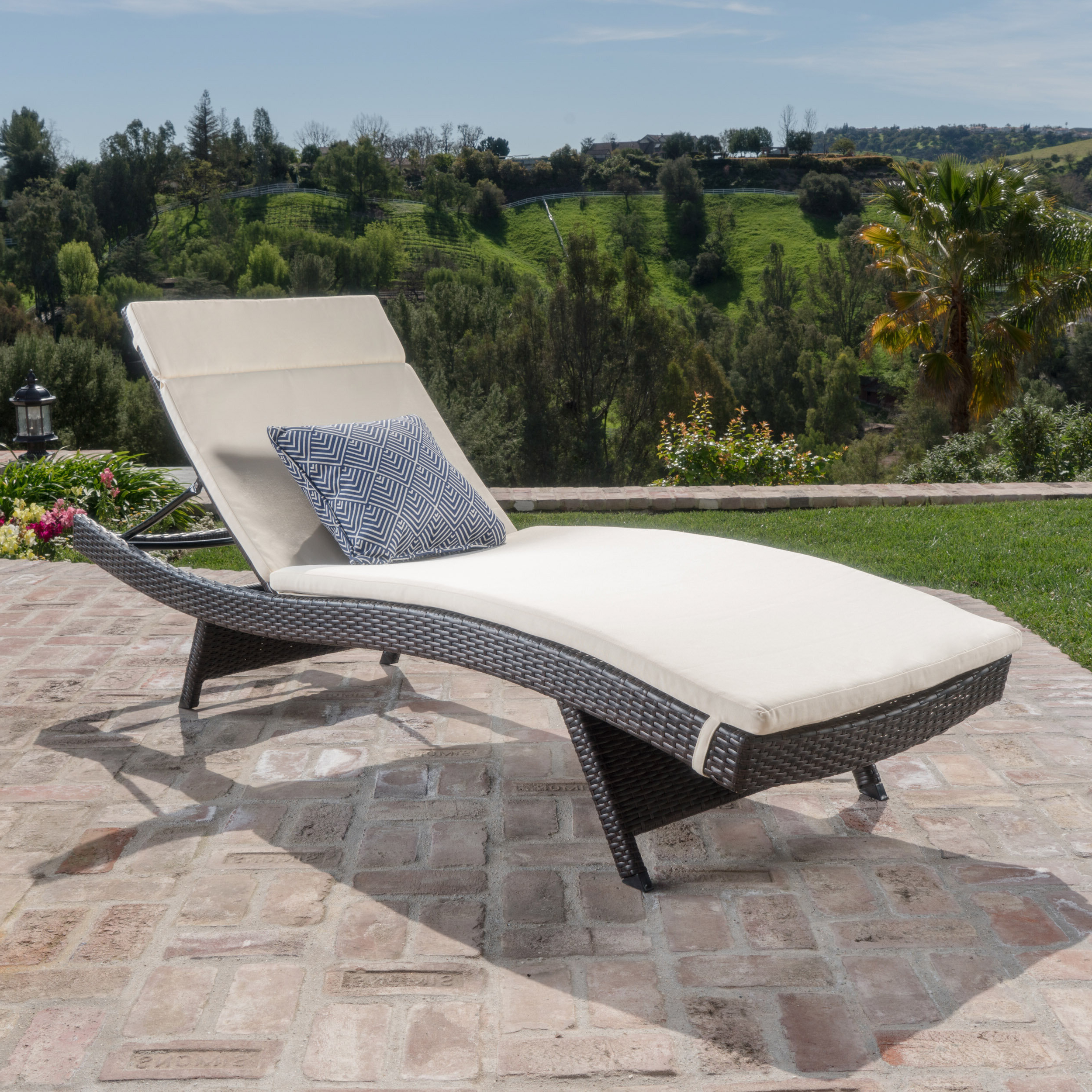 Ullman Adjustable Chaise Lounge With Beige Cushions Regarding Favorite Outdoor Wicker Adjustable Chaise Lounges With Cushions (View 23 of 25)