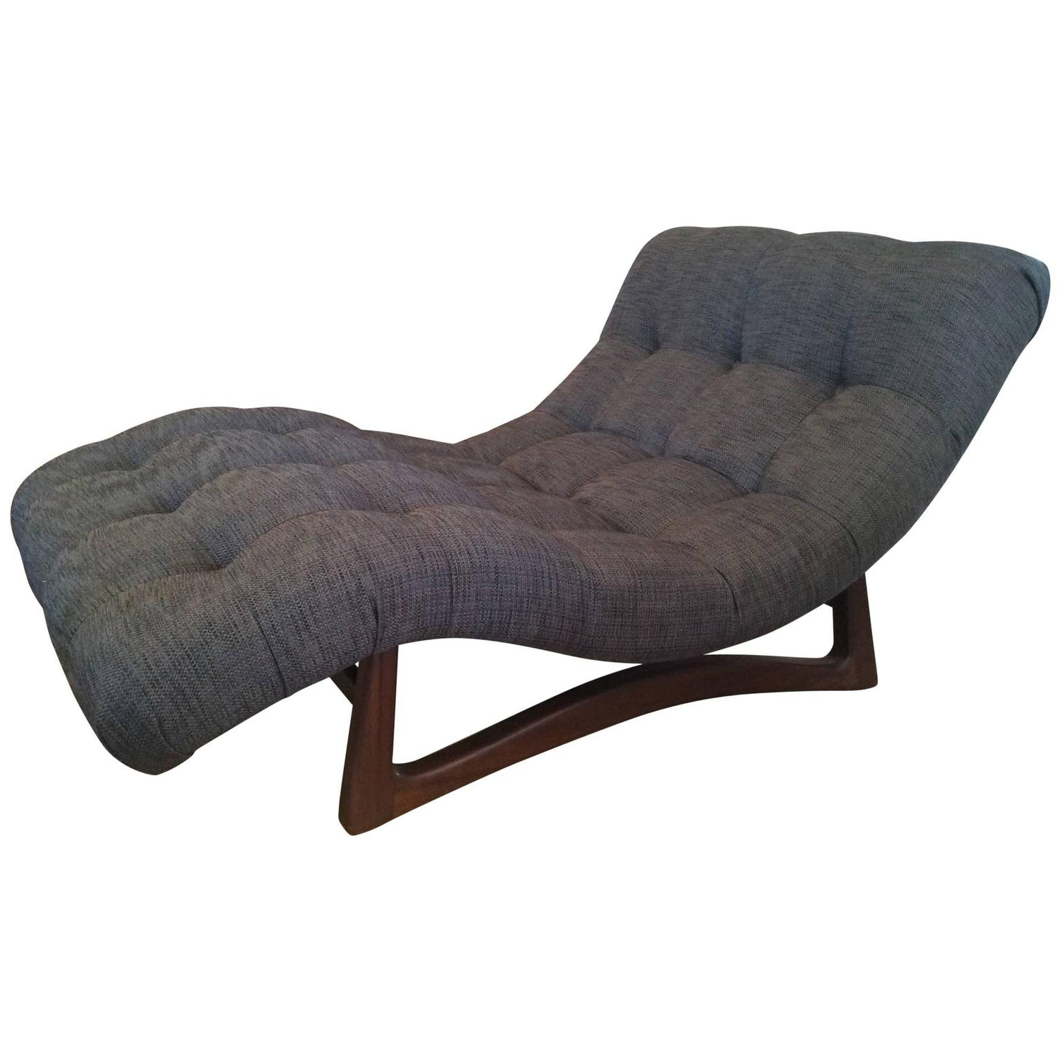 Vintage Adrian Pearsall Curved Chaise Lounge With Walnut Throughout Most Recently Released Curved Folding Chaise Loungers (View 24 of 25)