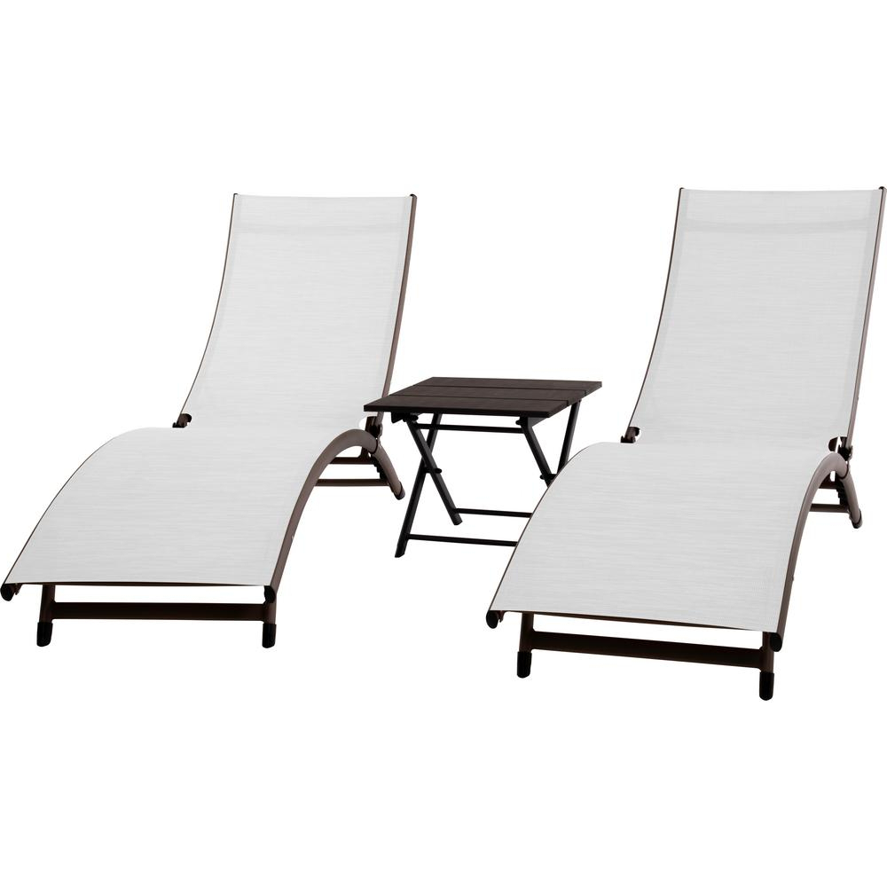 Vivere 3 Piece Aluminum Adjustable Outdoor Chaise Lounge Set With Current Outdoor 3 Piece Chaise Lounger Sets With Table (View 15 of 25)
