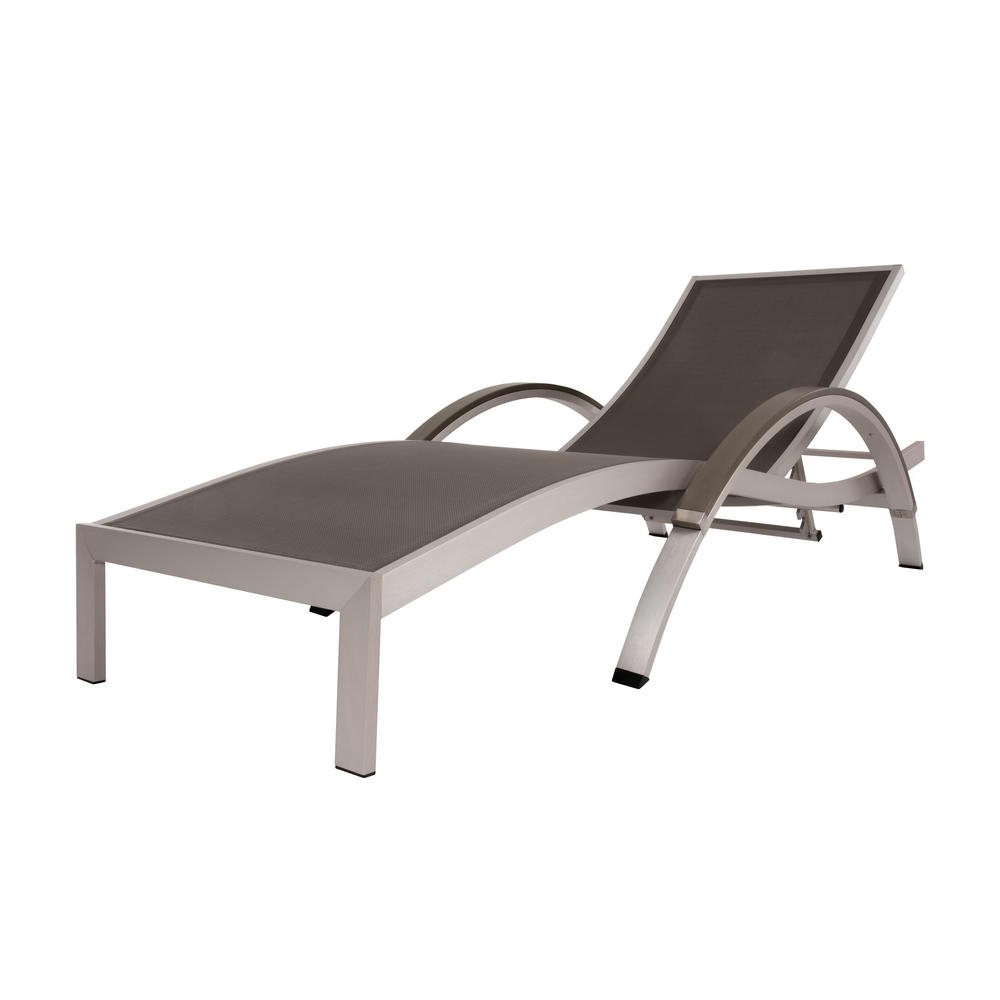 Vivere Brushed Aluminum Sling Outdoor Chaise Lounge In Gray Regarding Recent Curved Folding Chaise Loungers (Gallery 19 of 25)