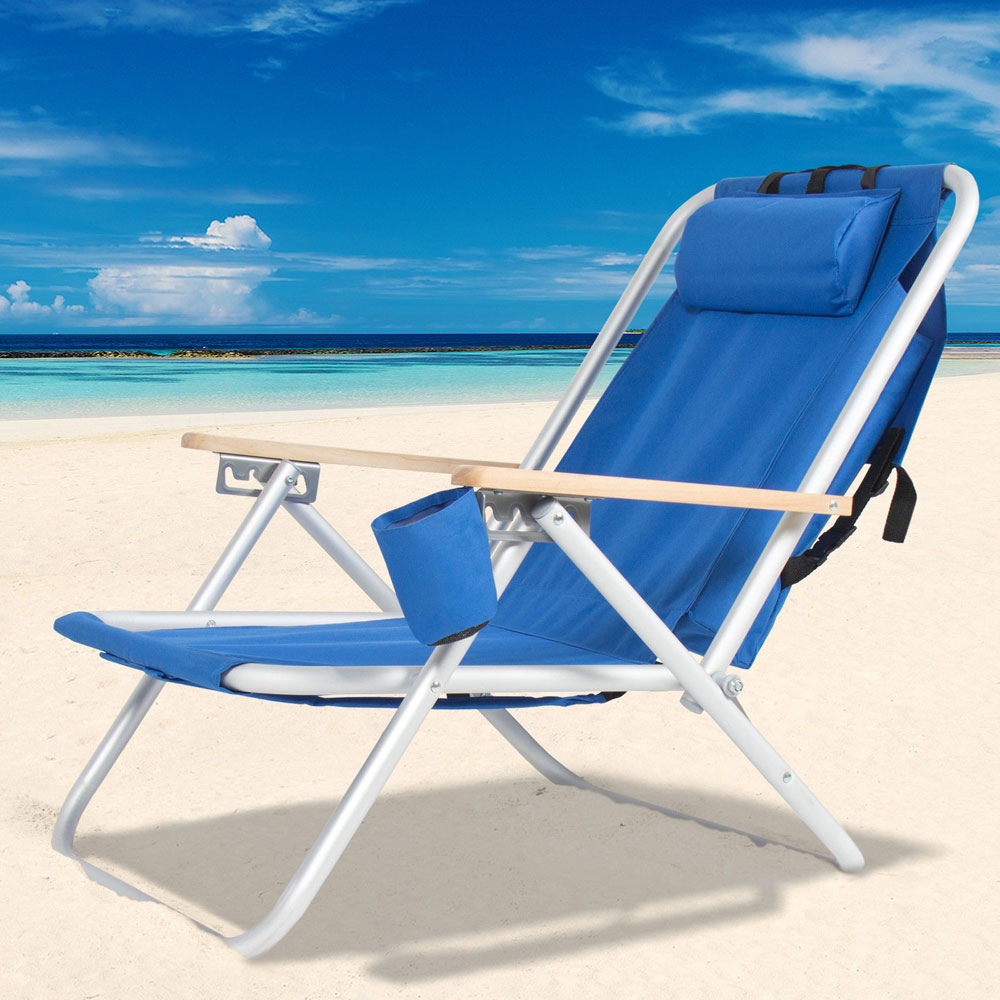 Walfront Single Beach Chair, Outdoor Fashion Beach Camping Folding Chair, Adjustable Portable High Strength Beach Chair Folding Lounge Chair Reclining Within Favorite Portable Reclining Beach Chaise Lounge Folding Chairs (View 23 of 25)