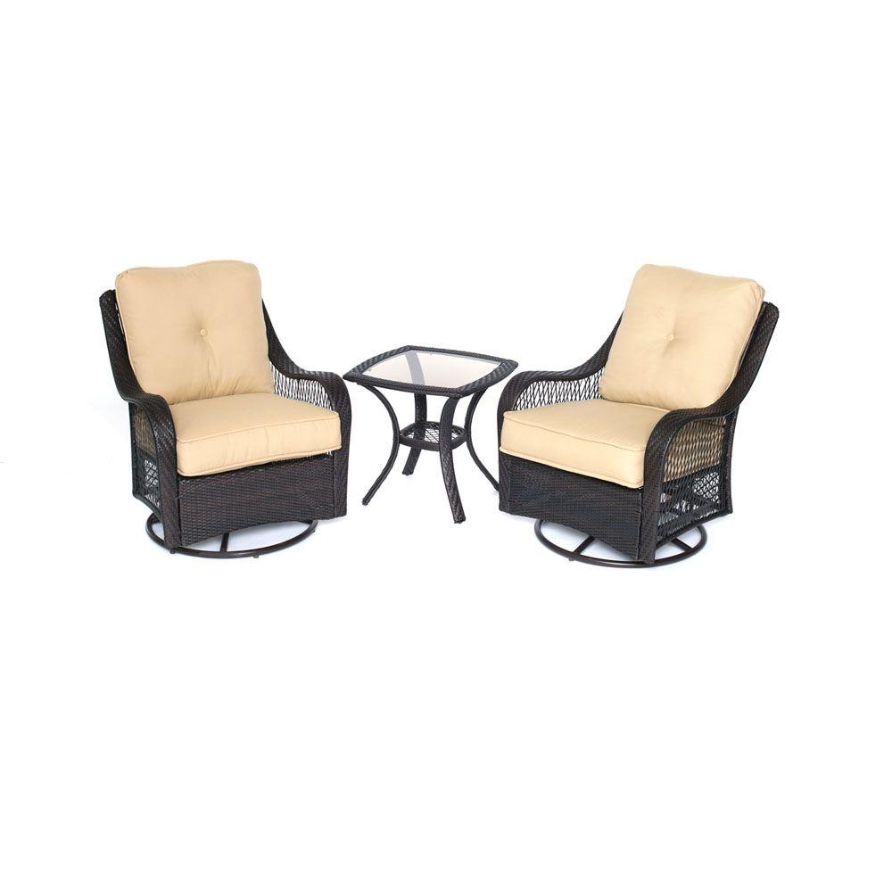 Well Known 3 Piece Patio Lounger Sets Inside Hanover Orleans 3 Piece All Weather Wicker Patio Swivel Rocking Chat Set With Sahara Sand Cushions (View 4 of 25)