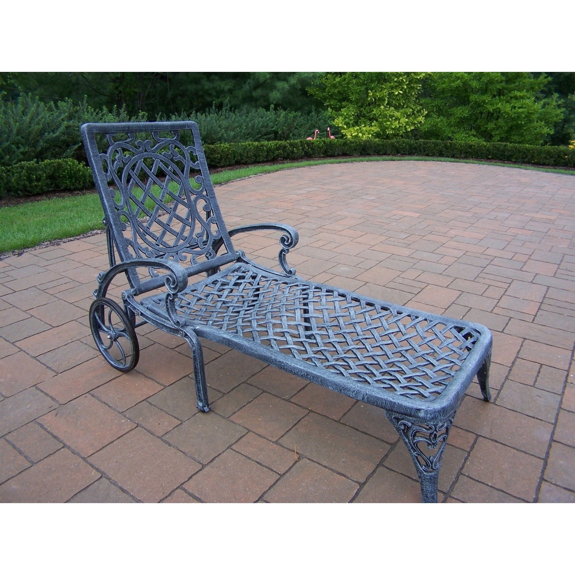 Well Known Aluminum Wheeled Chaise Lounges Inside Oakland Living Corporation Dakota Grey Cast Aluminum Wheeled (View 4 of 25)
