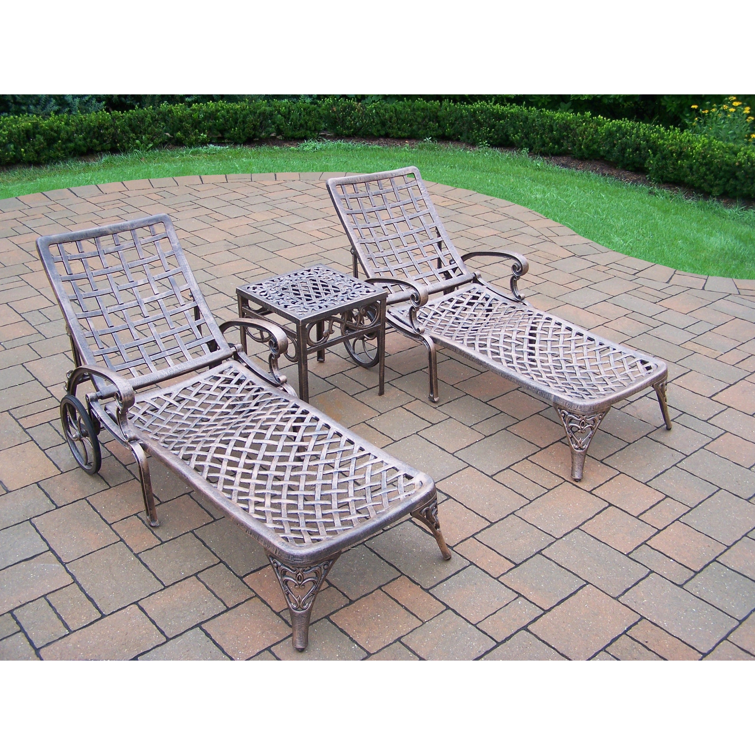 Well Known Aluminum Wheeled Chaise Lounges Regarding 3 Piece Merit Cast Aluminum Lounge Set With 2 Wheeled Chaise Lounges And  Side Table (View 23 of 25)