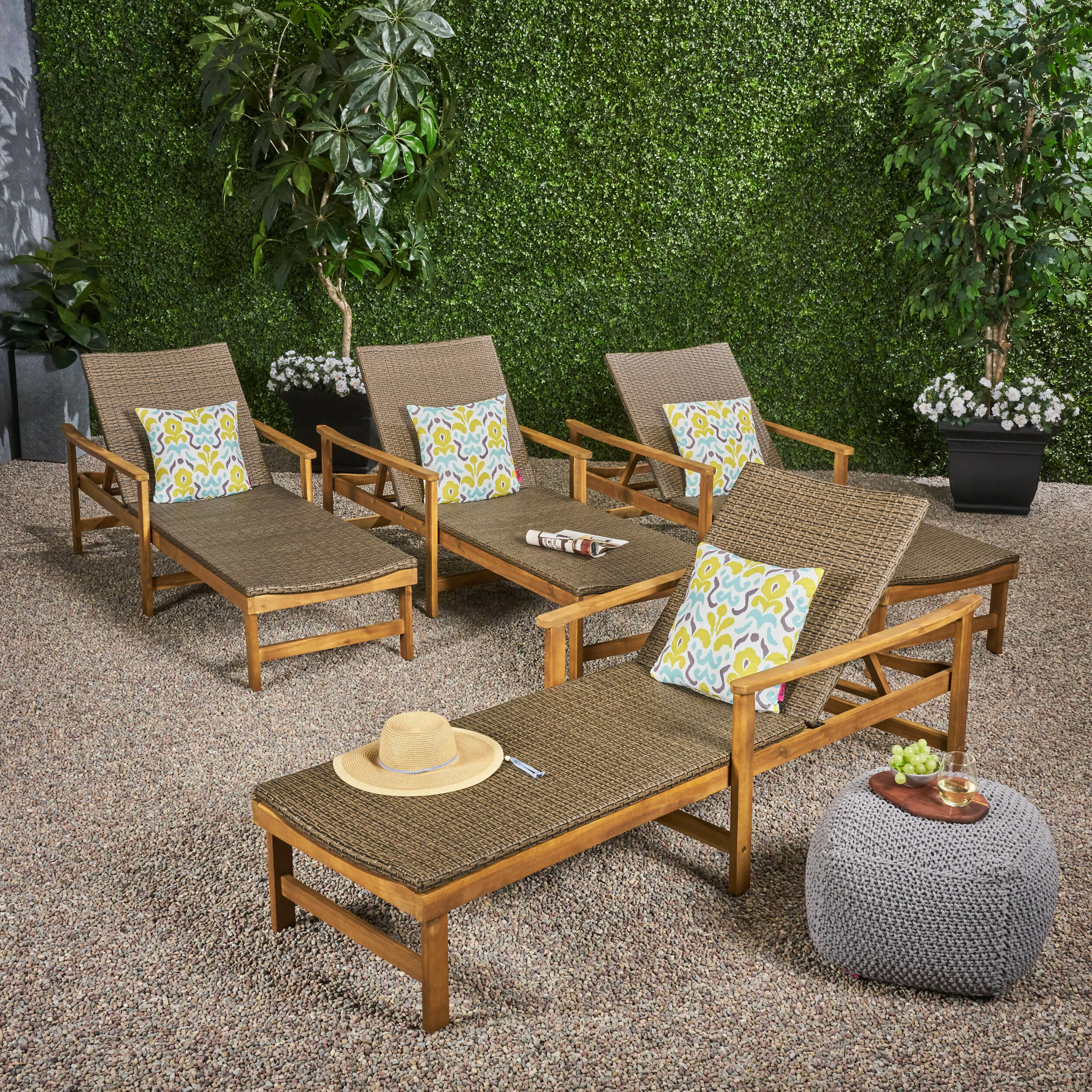 Well Known Bellbrook Reclining Chaise Lounge With Regard To Outdoor Rustic Acacia Wood Chaise Lounges With Wicker Seats (View 24 of 25)