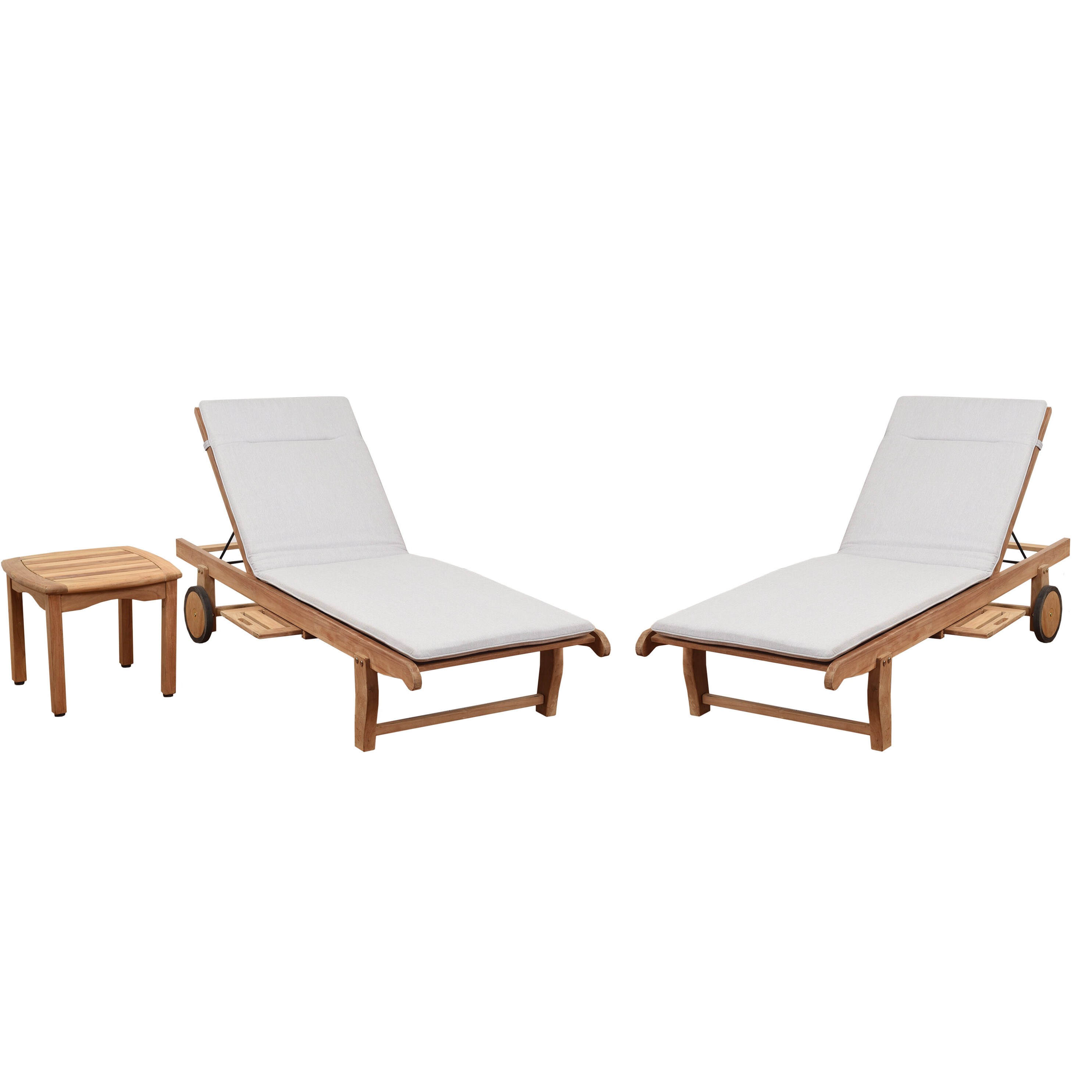 Well Known Brighton Sun Lounger Reclining Teak Chaise Lounge With Cushion And Table Within Teak Chaise Loungers (Gallery 2 of 25)