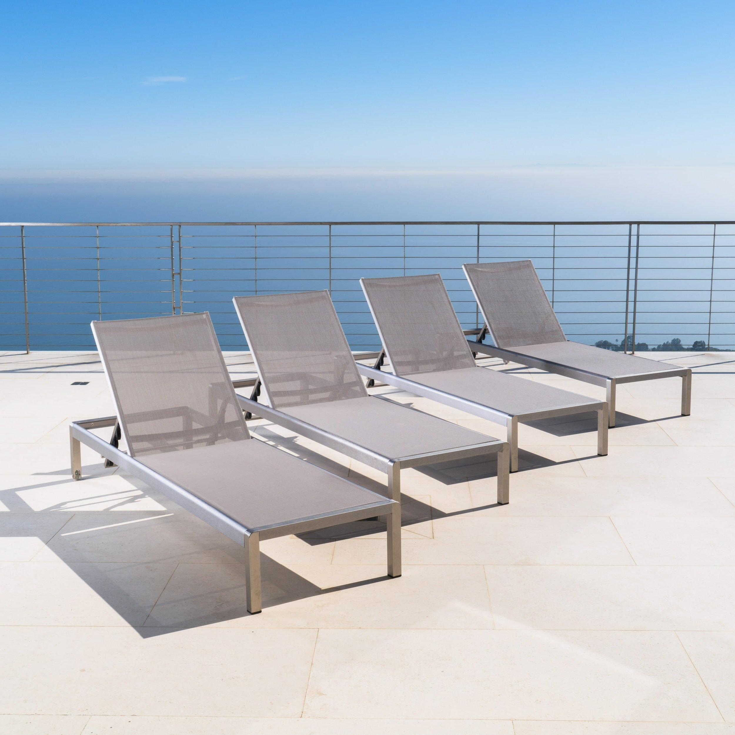 Well Known Cape Coral Outdoor Aluminum Adjustable Chaise Lounge (Set Of 4) Christopher Knight Home In Outdoor Aluminum Adjustable Chaise Lounges (View 6 of 25)