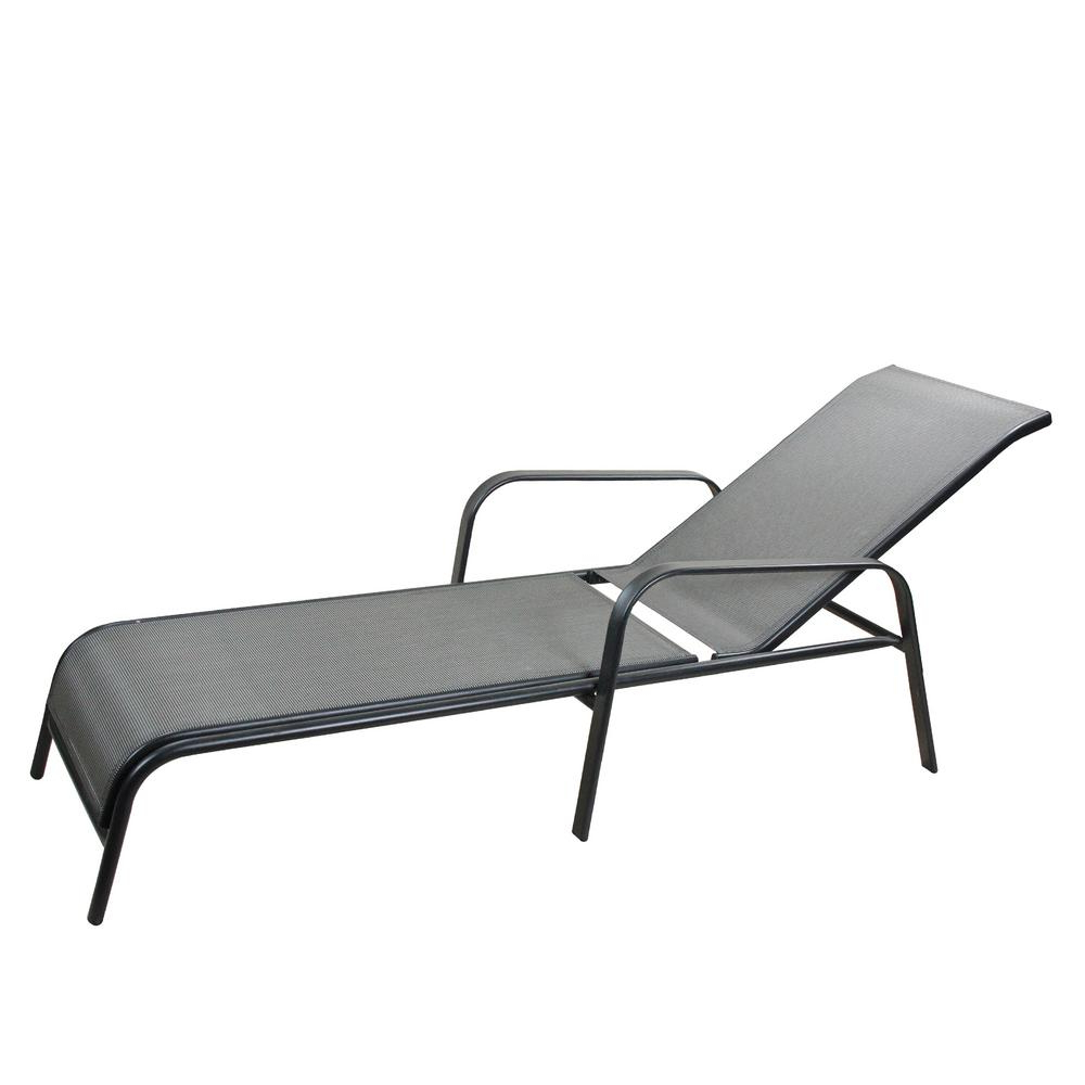 Well Known Cc Outdoor Living 40 In. Gray And Black Aluminum And Mesh Adjustable  Reclining Outdoor Patio Chaise Lounge Throughout Outdoor Aluminum Chaise Lounges (Gallery 9 of 25)