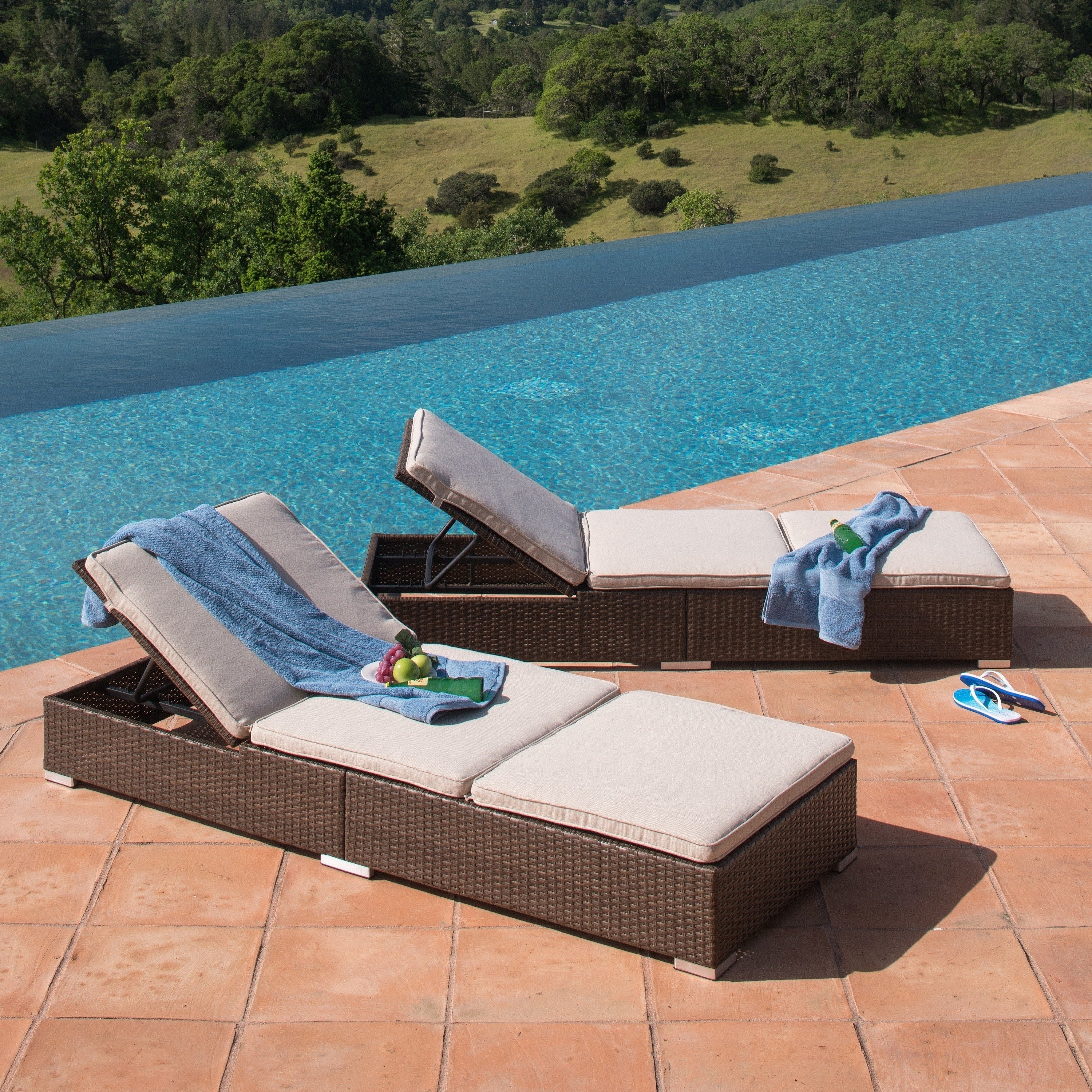 Well Known Corvus Outdoor Wicker Adjustable Chaise Lounges With Cushions (Set Of 2) Within Outdoor Wicker Adjustable Chaise Lounges With Cushions (View 24 of 25)