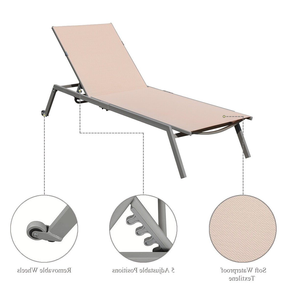 Well Known Corvus Torino Adjustable Sling Fabric Patio Chaise Lounge Throughout Adjustable Sling Fabric Patio Chaise Lounges (View 24 of 25)