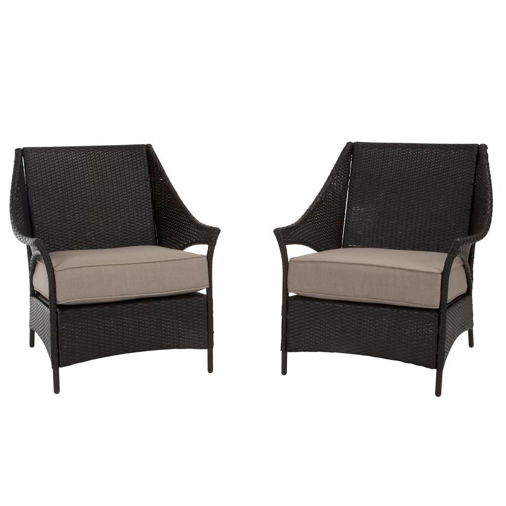 Well Known Cosco Lakewood Isle Dark Brown Wicker Deep Seating Outdoor Lounge Chairs With Tan Cushions (2 Pack) In Cosco Outdoor Steel Woven Wicker Chaise Lounge Chairs (View 17 of 25)