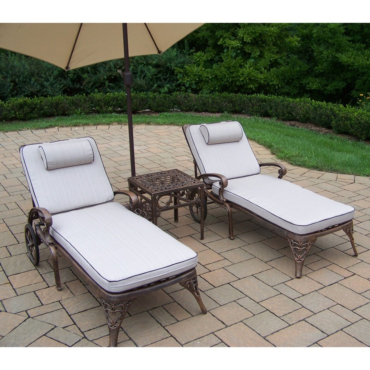 Well Known Details About Oakland Living Mississippi 3 Piece Outdoor Patio Chaise Lounge Set With Cushions Inside 3 Piece Patio Lounger Sets (View 21 of 25)