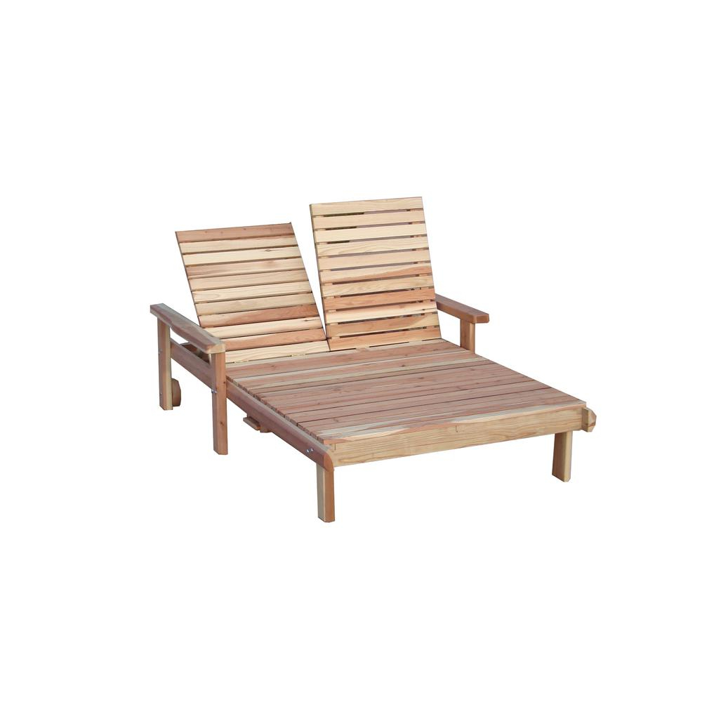 Well Known Double Beach Clear Redwood Outdoor Chaise Lounge Regarding Resin Wicker Multi Position Double Patio Chaise Lounges (View 9 of 25)