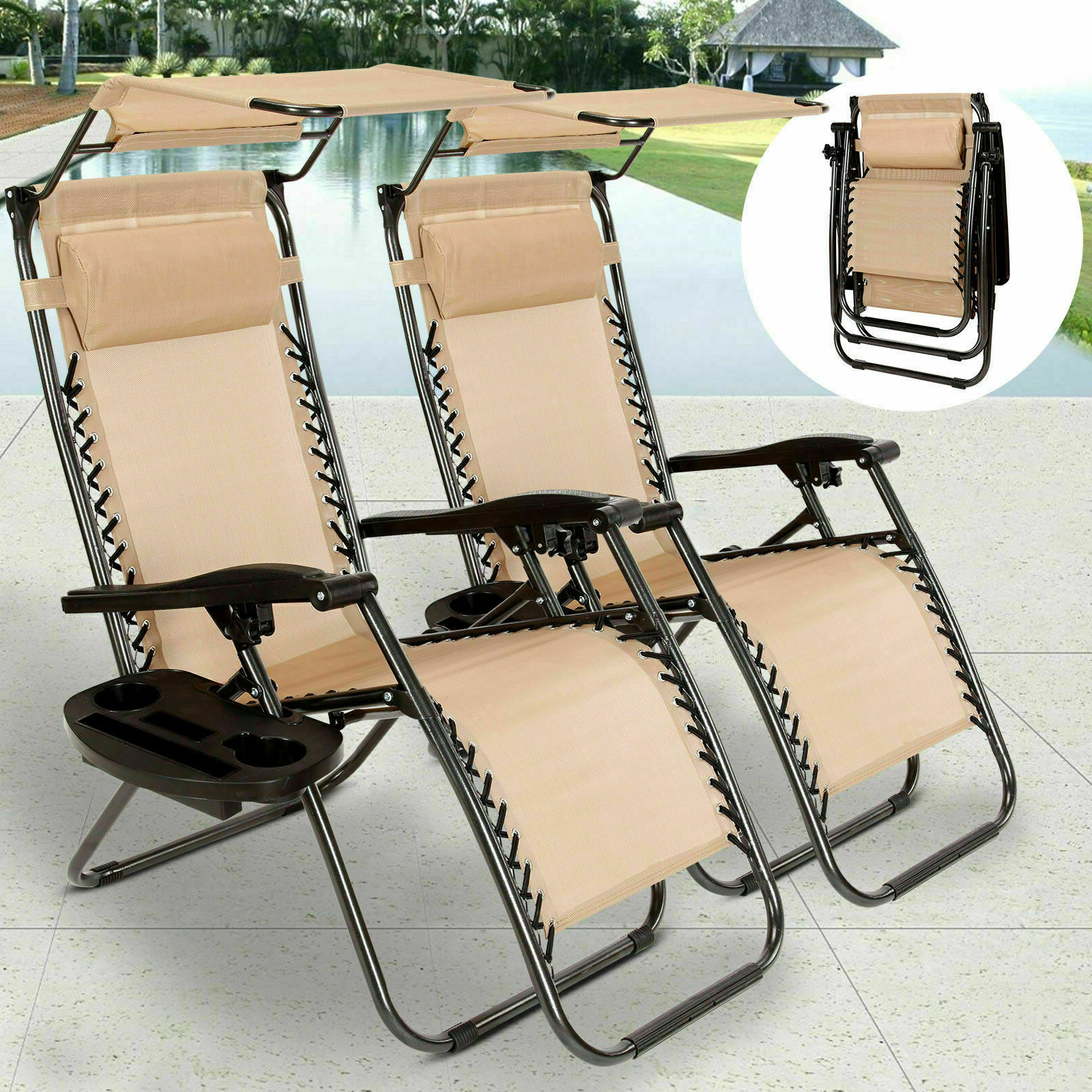 Well Known Double Reclining Lounge Chairs With Canopy Intended For Us Folding Zero Gravity Lounge Chairs Patio Beach Recliner W/ Canopy Cup Holder (View 14 of 25)