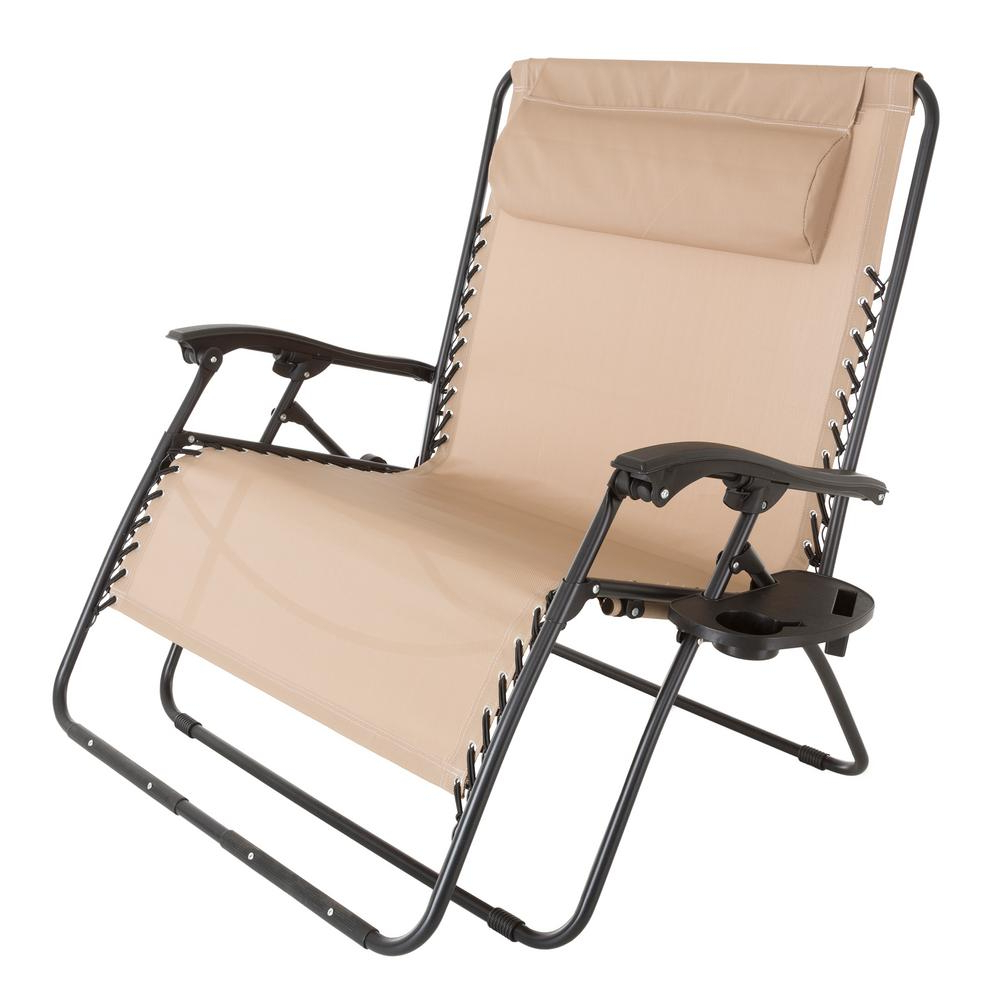 Well Known Extra Wide Recliner Lounge Chairs In Pure Garden Zero Gravity Beige Metal Reclining Lawn Chair (View 25 of 25)