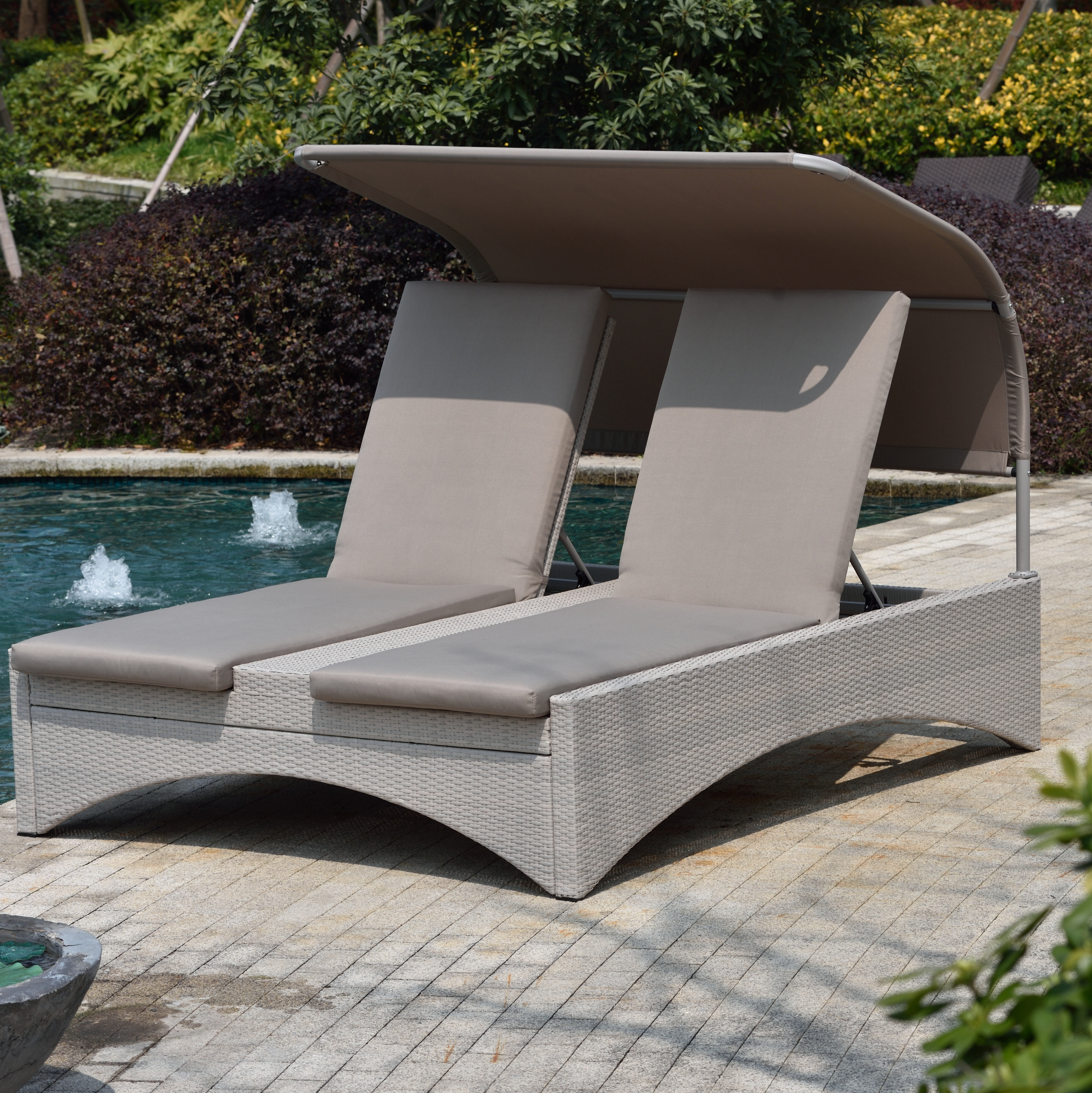 Well Known Fabric Reclining Outdoor Chaise Lounges Intended For Aalin Patio Reclining Chaise Lounge With Cushion (Gallery 14 of 25)