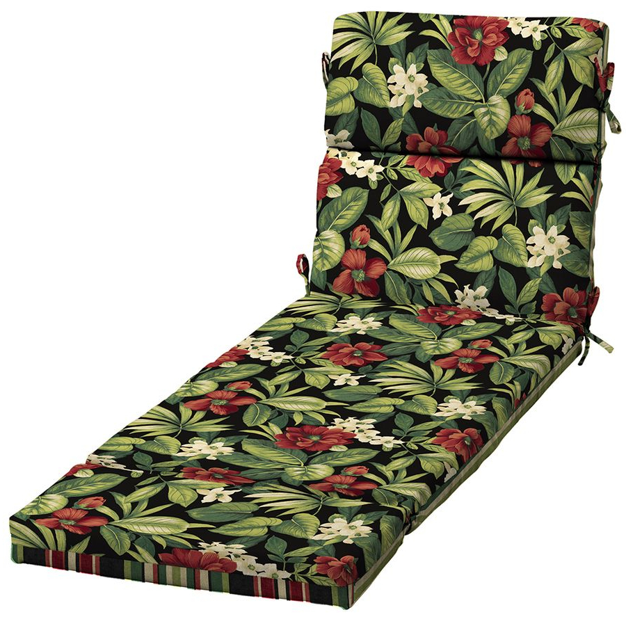 Well Known Garden Treasures 1 Piece Sanibel Black Tropical Patio Chaise Regarding Floral Blossom Chaise Lounge Chairs With Cushion (View 24 of 25)