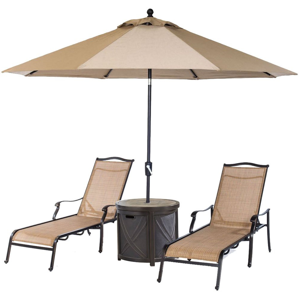 Well Known Hanover Monchs3Pc Rt Su Monaco 4 Piece Lounge Set In Tan & Bronze With 2  Sling Chaise Lounge Chairs Round Tile Top Side Table & 9 Ft (View 21 of 25)