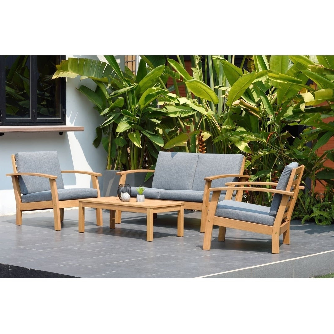 Well Known Havenside Home Tottenville 4 Piece Patio Conversation Set With Havenside Home Tottenville Eucalyptus Loungers (View 23 of 25)