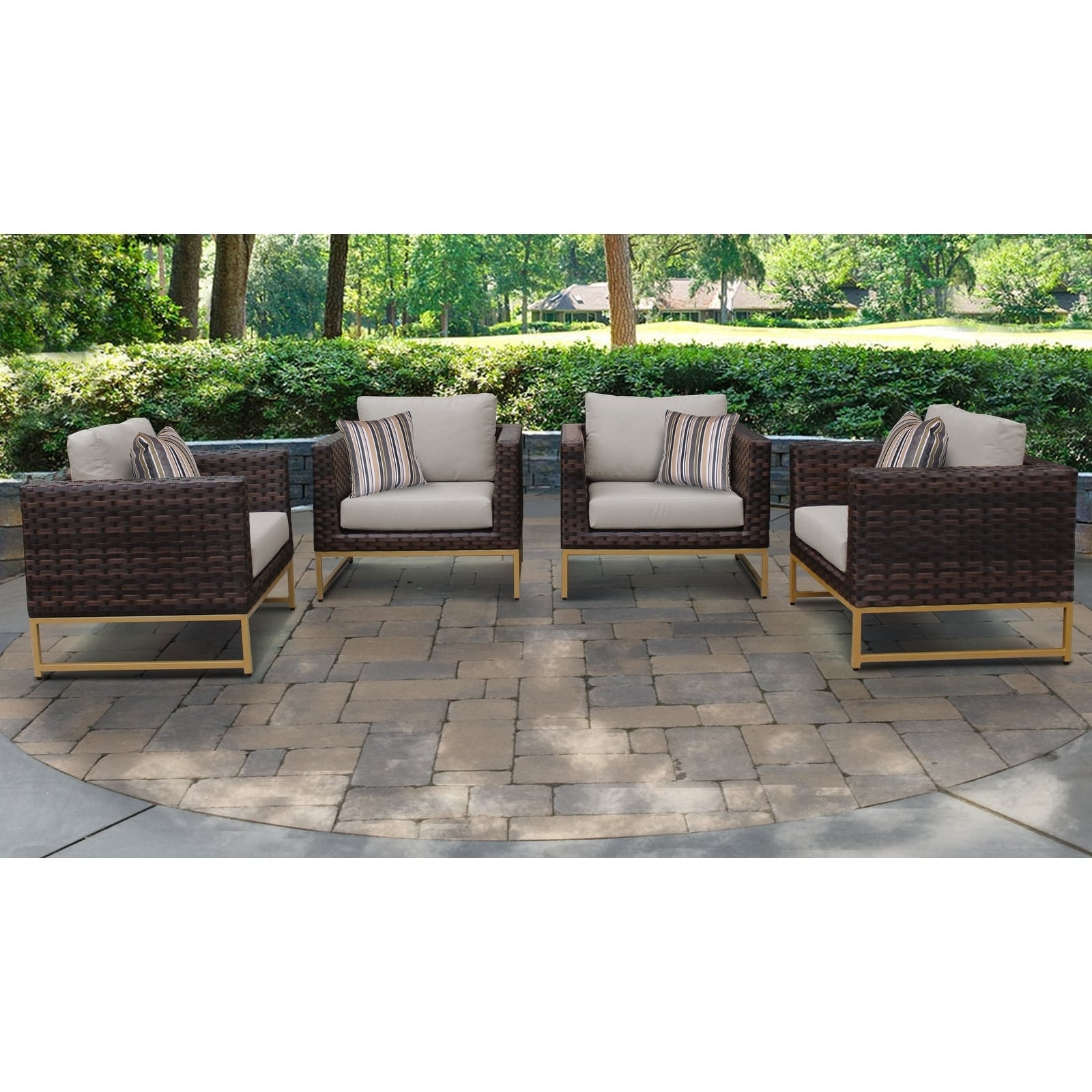 Well Known Havenside Home Tottenville Eucalyptus Loungers With Barcelona 4 Piece Outdoor Wicker Patio Furniture Set 04g (View 17 of 25)