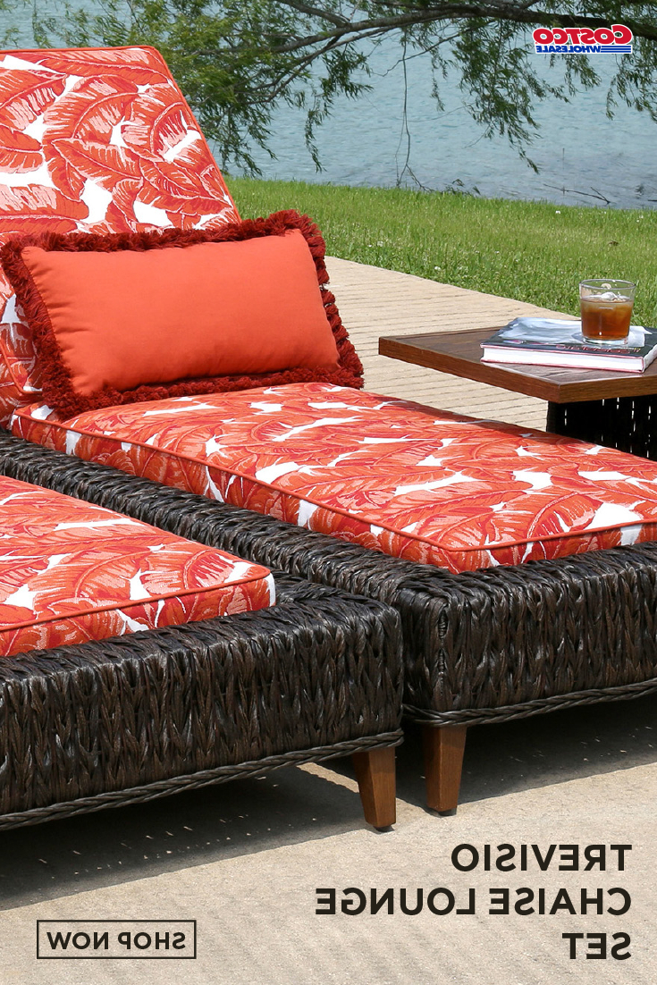 Well Known Indoor Outdoor Textured Bright Chaise Lounges With Sunbrella Fabric Within Trevisio 3 Piece Chaise Lounge Set In 2019 (Gallery 19 of 25)