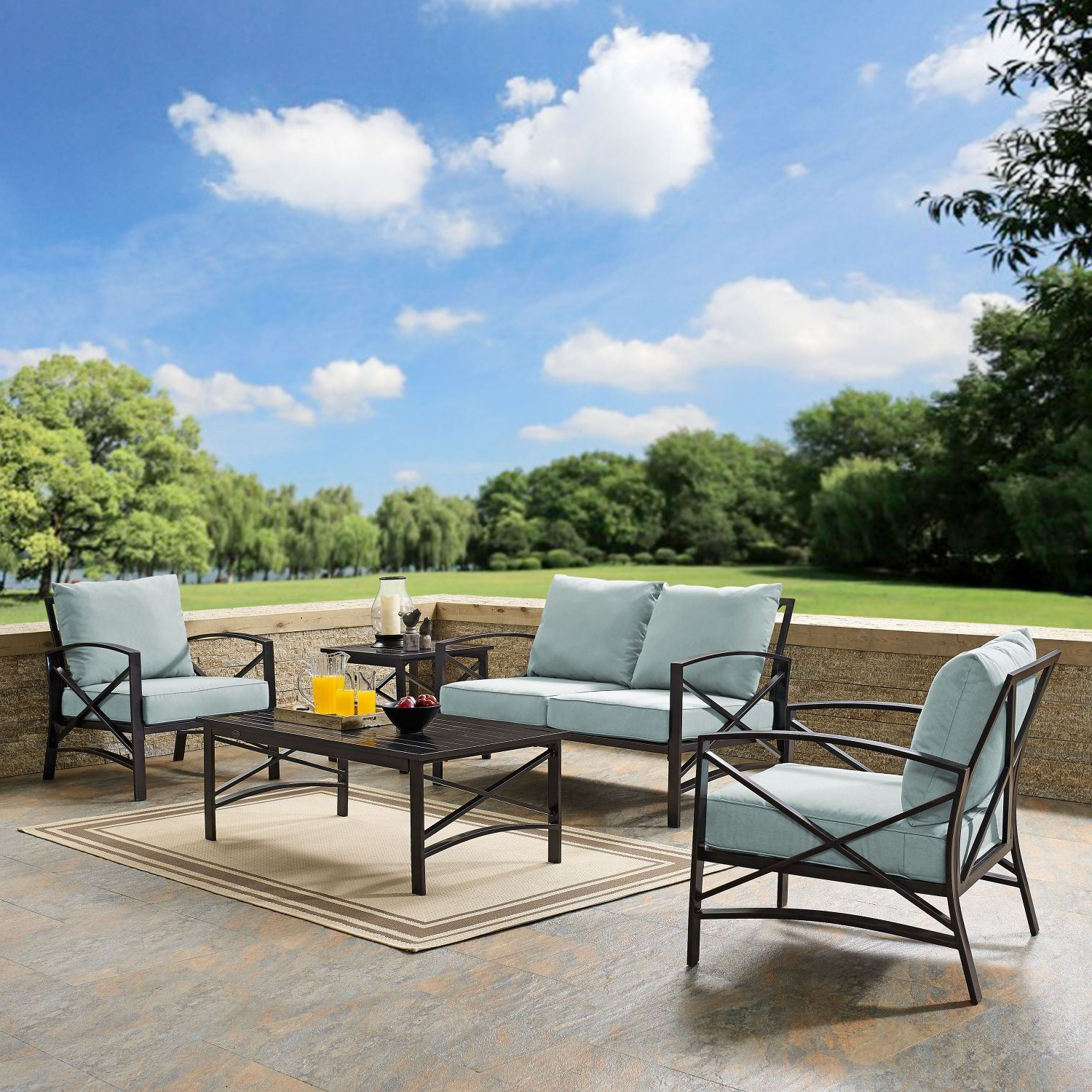 Well Known Kaplan 5 Pc Outdoor Seating Set With Mist Cushion Regarding Chaise Lounge Chairs In Bronze With Oatmeal Cushions (Gallery 22 of 25)