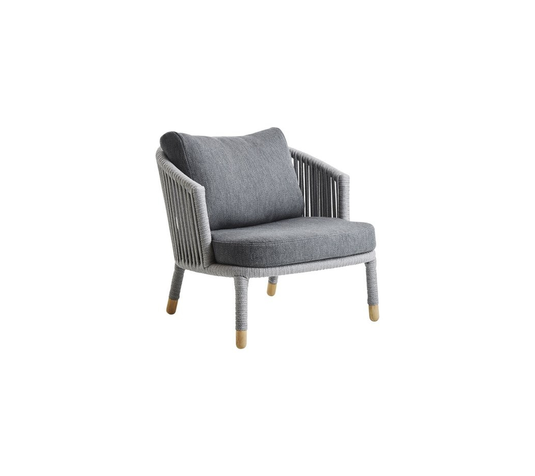 Well Known Lounge Chairs In White With Grey Cushions Inside Cane Line Moments Lounge Chair, Includes Grey Cushion Set (7443) (Gallery 19 of 25)