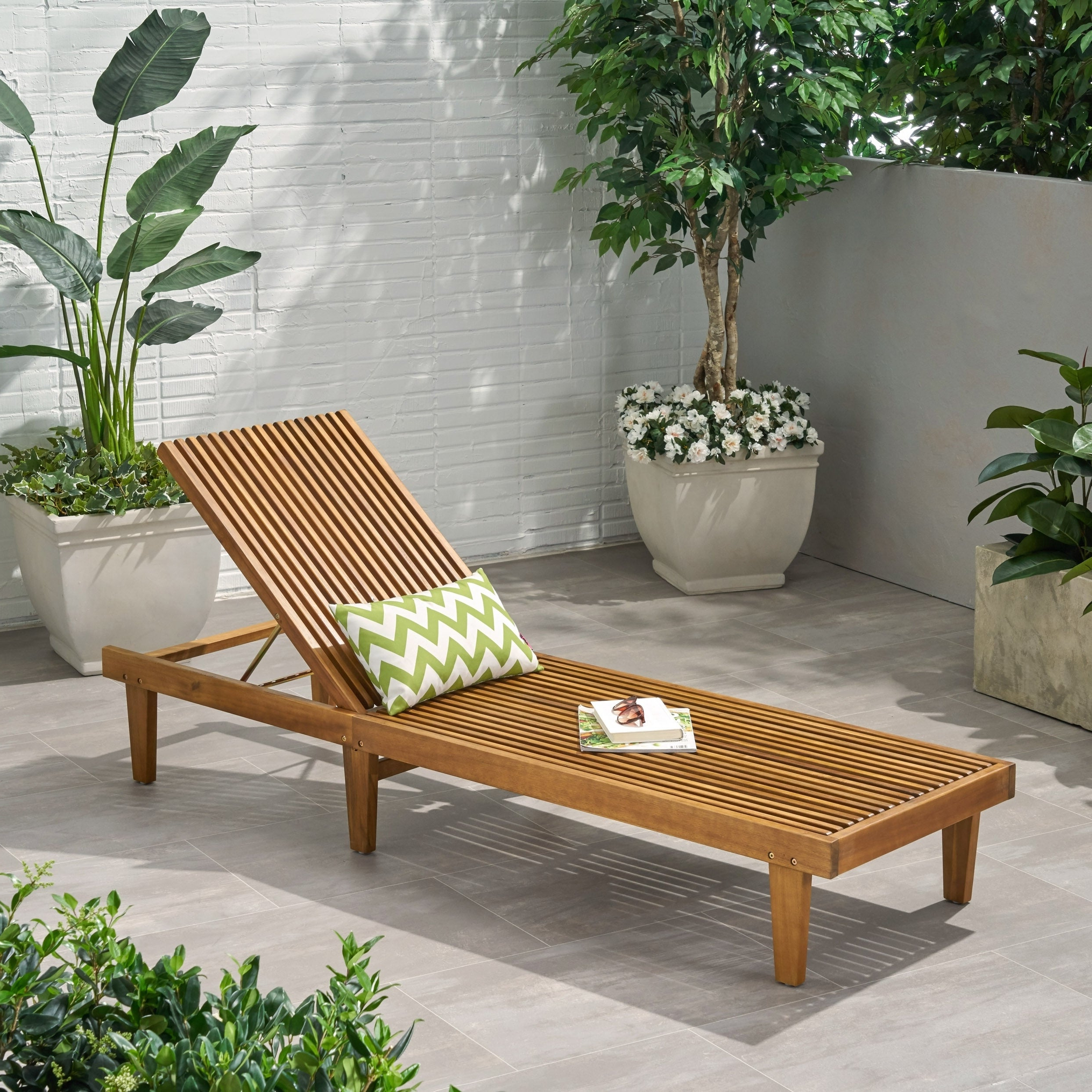 Well Known Nadine Outdoor Adjustable Wood Chaise Loungechristopher Knight Home Intended For Havenside Home Tottenville Eucalyptus Loungers (Gallery 19 of 25)