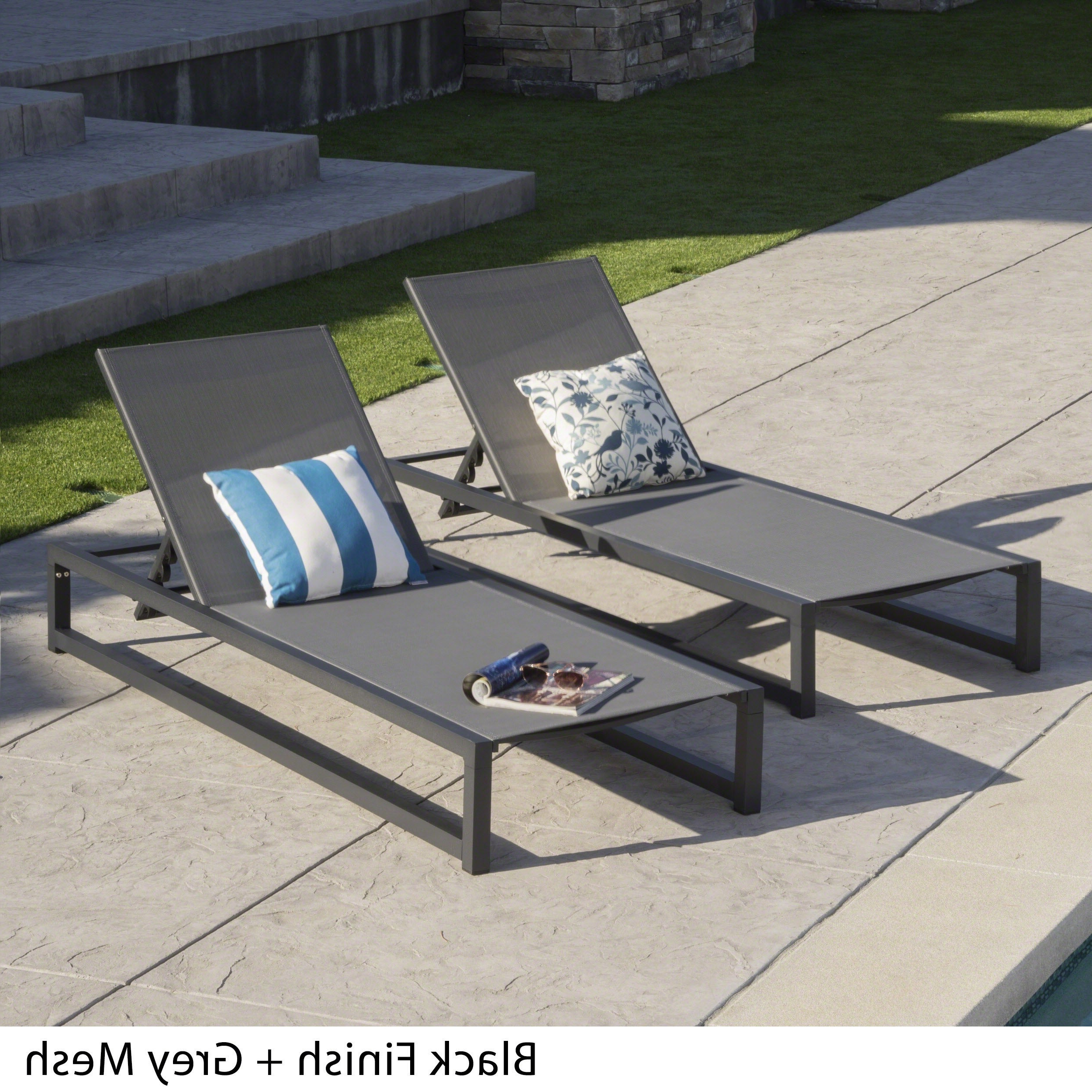Well Known Navan Outdoor Aluminum Chaise Lounges With Cushion Intended For Modesta Outdoor Aluminum Mesh Chaise Lounge (set Of 2)christopher Knight Home (View 13 of 25)