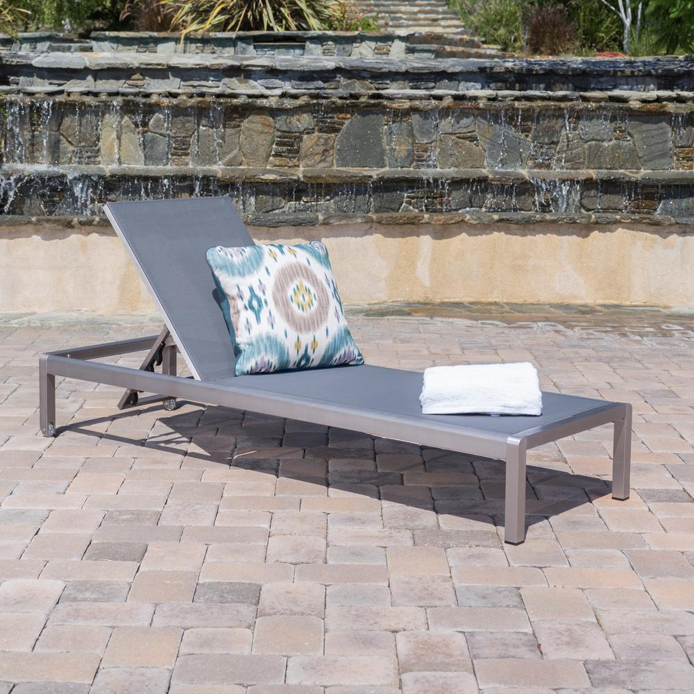 Well Known Noble House Cape Coral Silver 1 Piece Metal Adjustable Outdoor Mesh Chaise Lounge With Cape Coral Outdoor Chaise Lounges With Cushion (View 3 of 25)