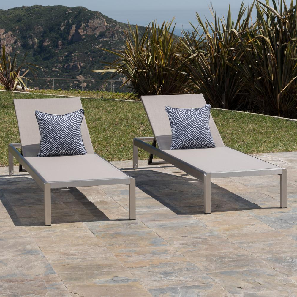 Well Known Noble House Cape Coral Silver 2 Piece Metal Outdoor Chaise Lounge Intended For Cape Coral Outdoor Aluminum Mesh Chaise Lounges (View 24 of 25)