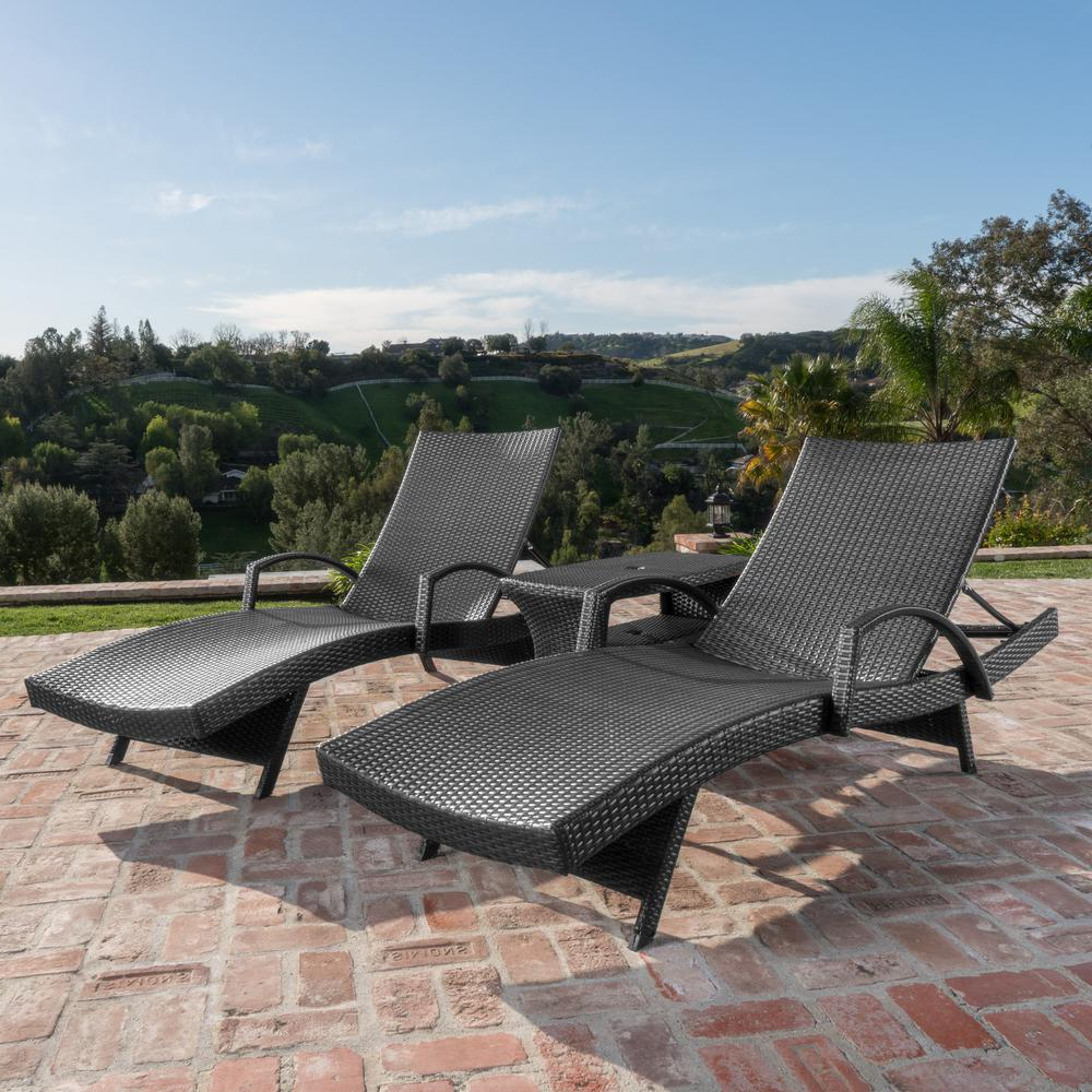 Well Known Noble House Heavenly Grey Armed 3 Piece Wicker Outdoor Chaise Lounge And Table Set Pertaining To Outdoor 3 Piece Wicker Chaise Lounges And Table Sets (View 11 of 25)
