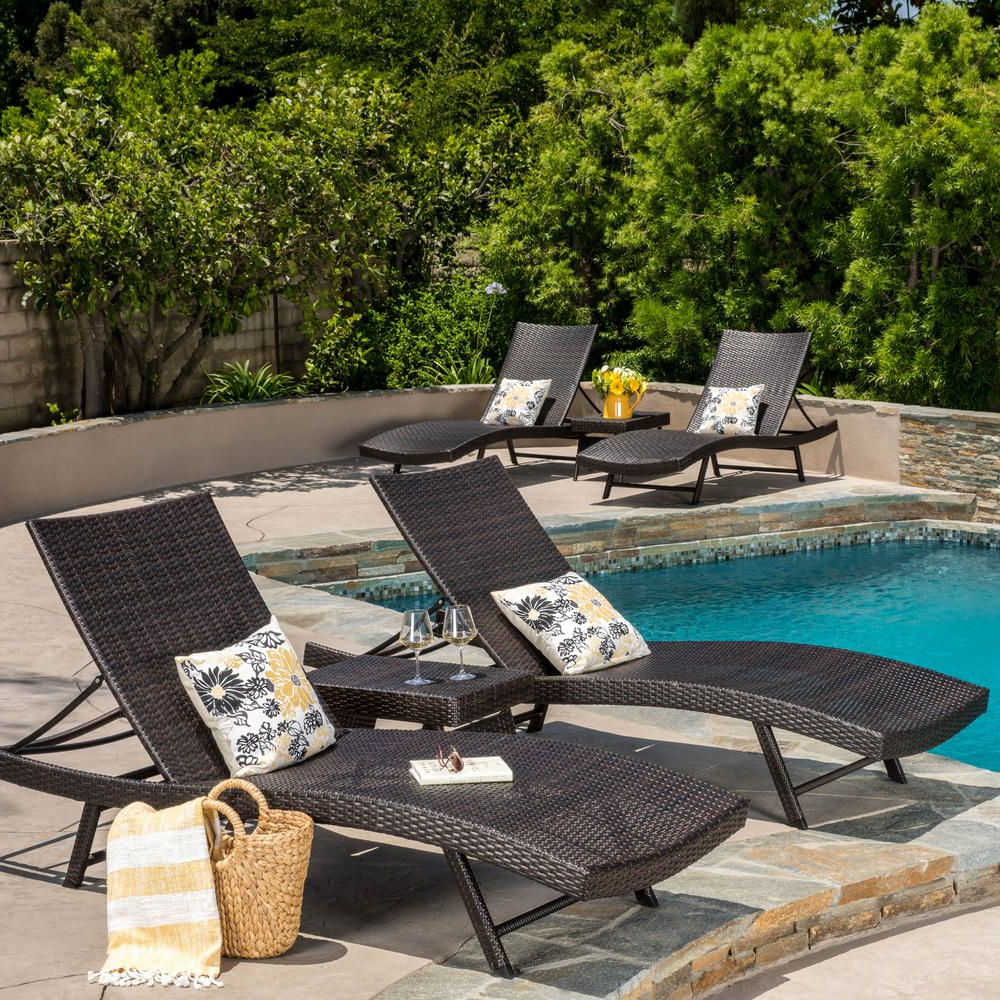 Well Known Noble House Kauai Multi Brown 6 Piece Wicker Outdoor Chaise Lounge Intended For Kauai Outdoor Wicker Chaise Lounges (View 24 of 25)