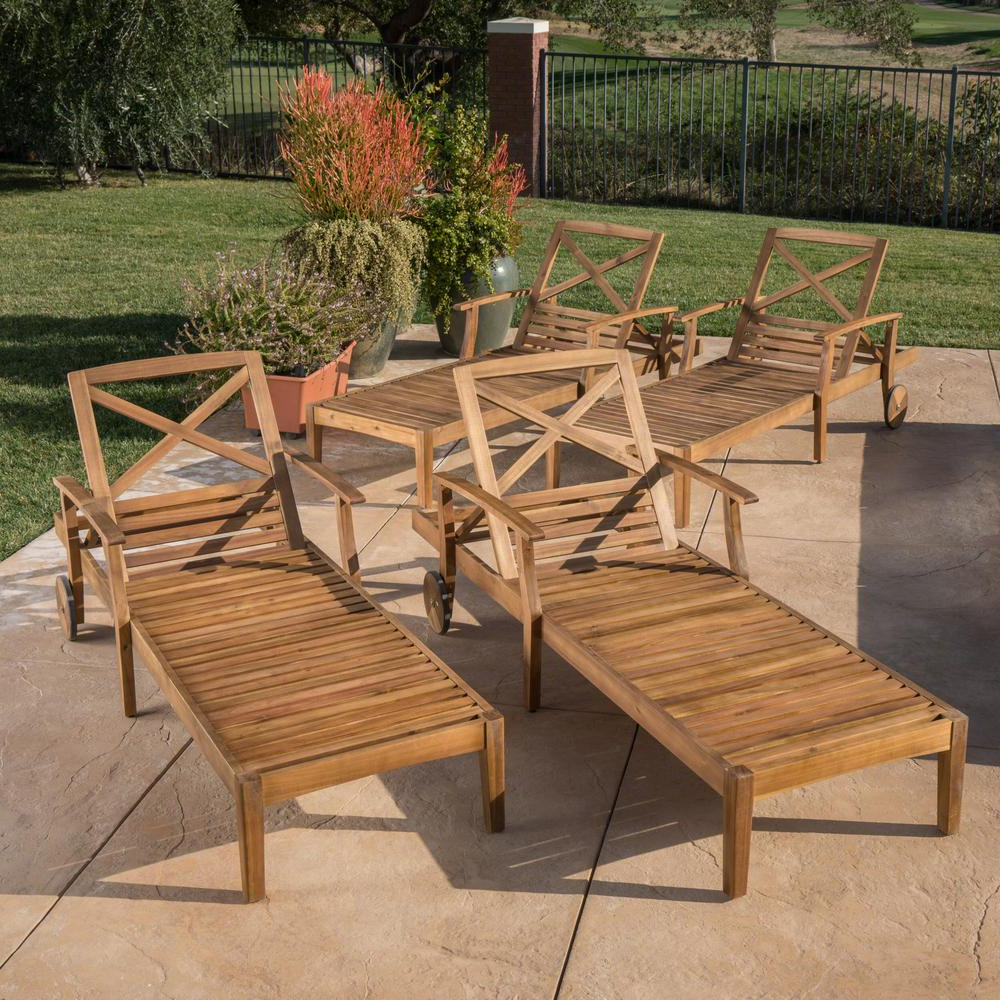 Well Known Noble House Perla Brown Wood Outdoor Chaise Lounge (Set Of 4) Within Outdoor Acacia Wood Chaise Lounges And Cushion Sets (View 24 of 25)