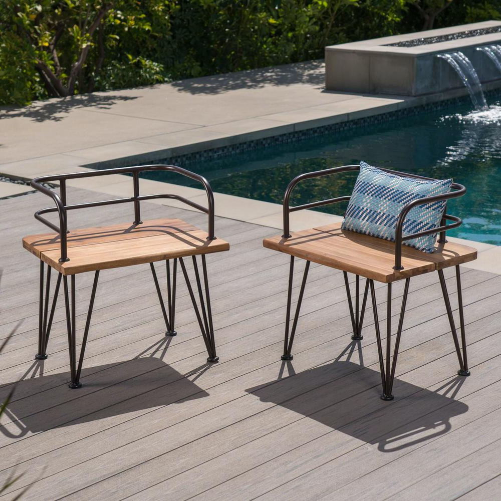 Well Known Noble House Zion Industrial Teak Brown Armed Wood Outdoor Lounge Chairs  With Rustic Metal Frame (2 Pack) Intended For Outdoor Rustic Acacia Wood Chaise Lounges With Wicker Seats (View 25 of 25)