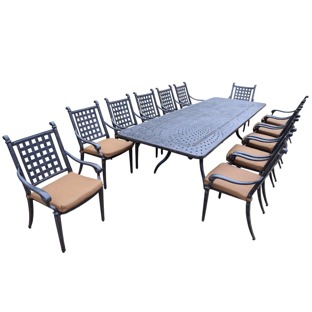 Well Known Outdoor 13 Piece Wicker Patio Sets With Cushions Inside 13 Piece Aluminum Outdoor Dining Set With Sunbrella Brown Cushions (View 18 of 25)